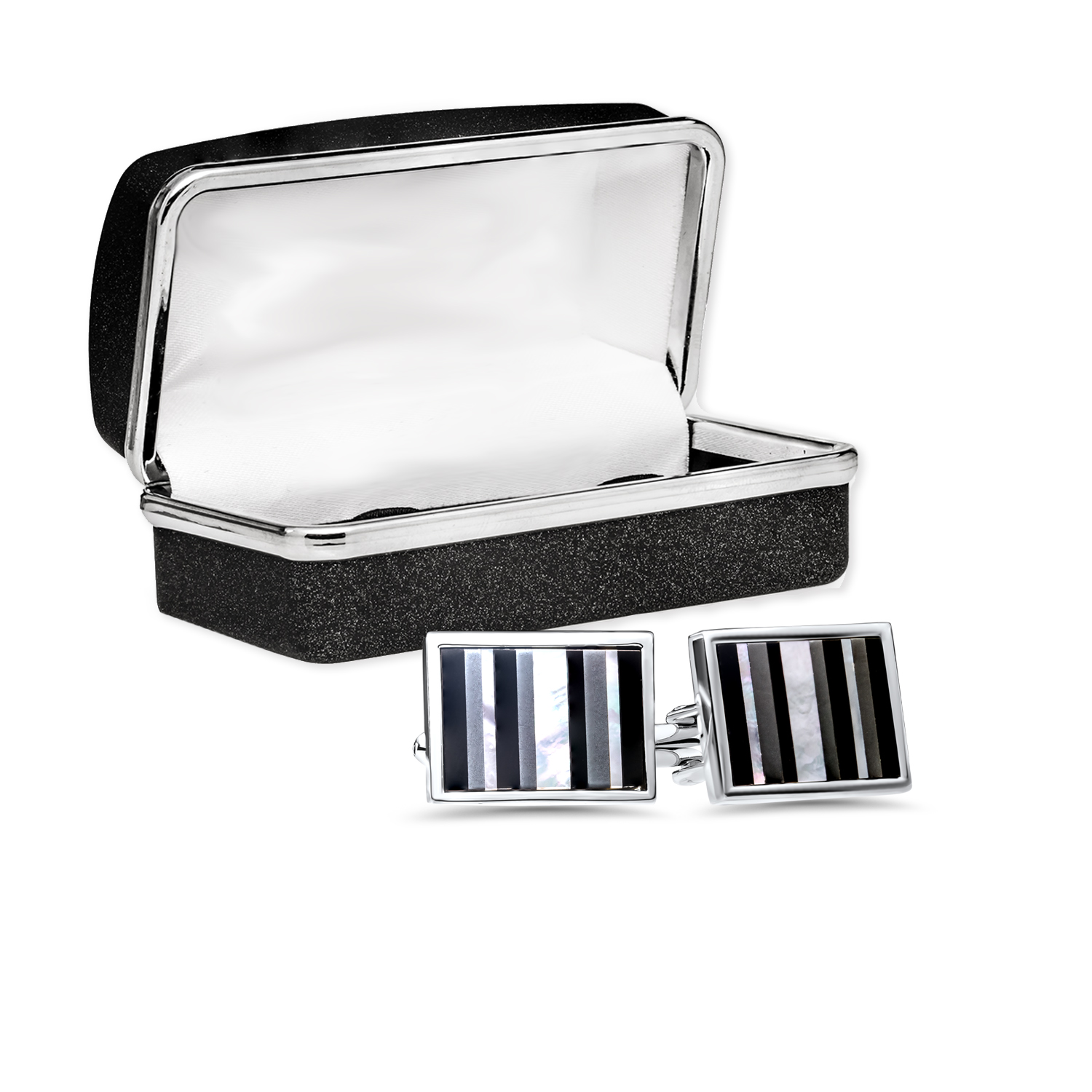 Rhodium Plated Striped Mother of Pearl Cuff Links