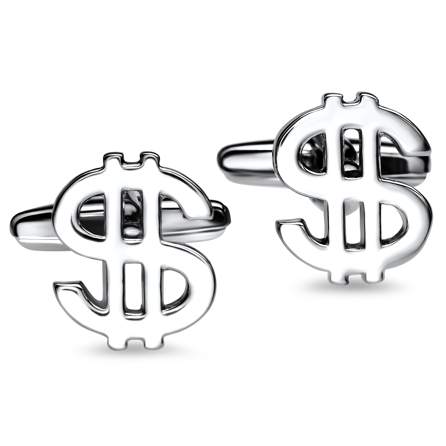 Rhodium Plated Dollar Sign Cuff Links