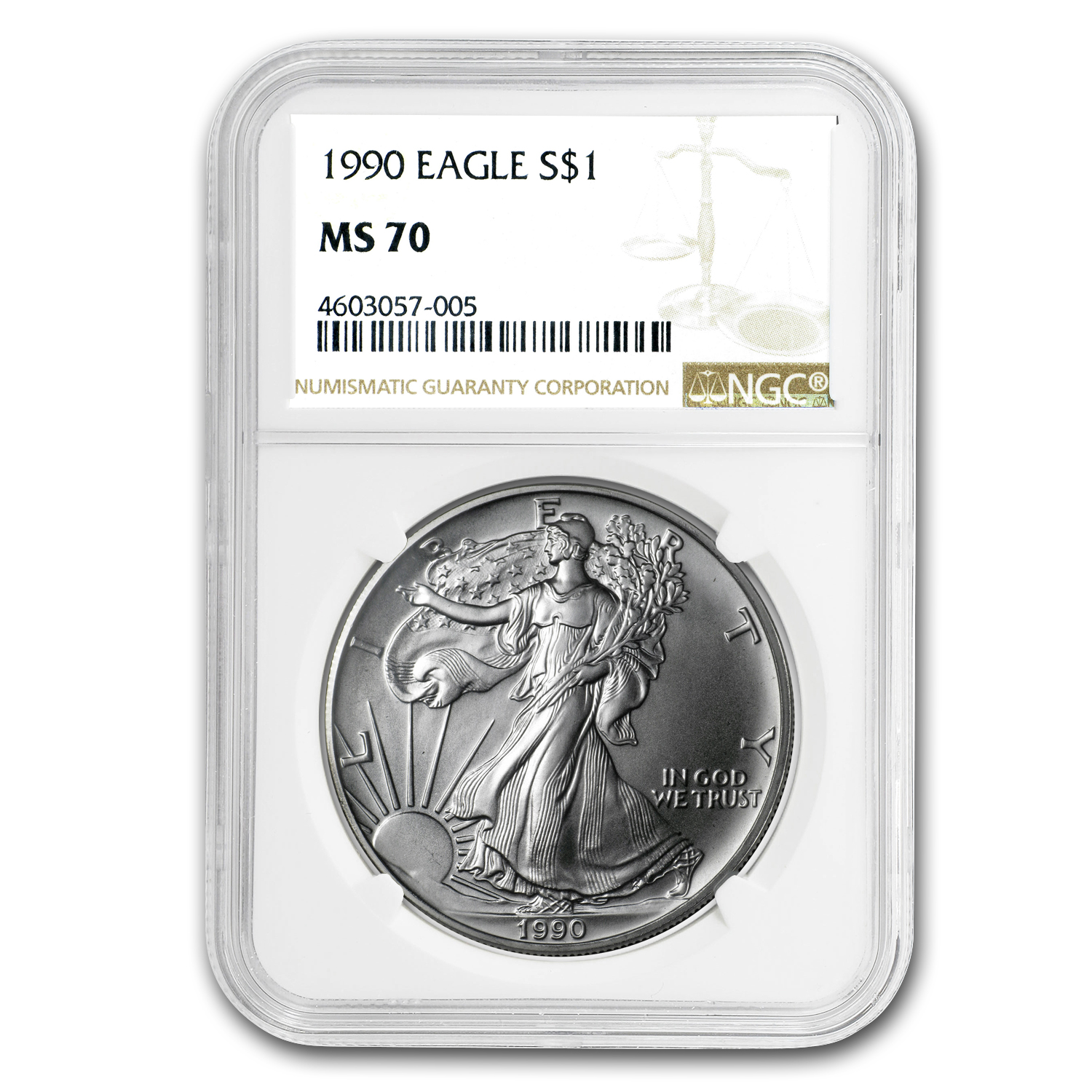 1990 Silver American Eagle MS-70 NGC (Registry Set)