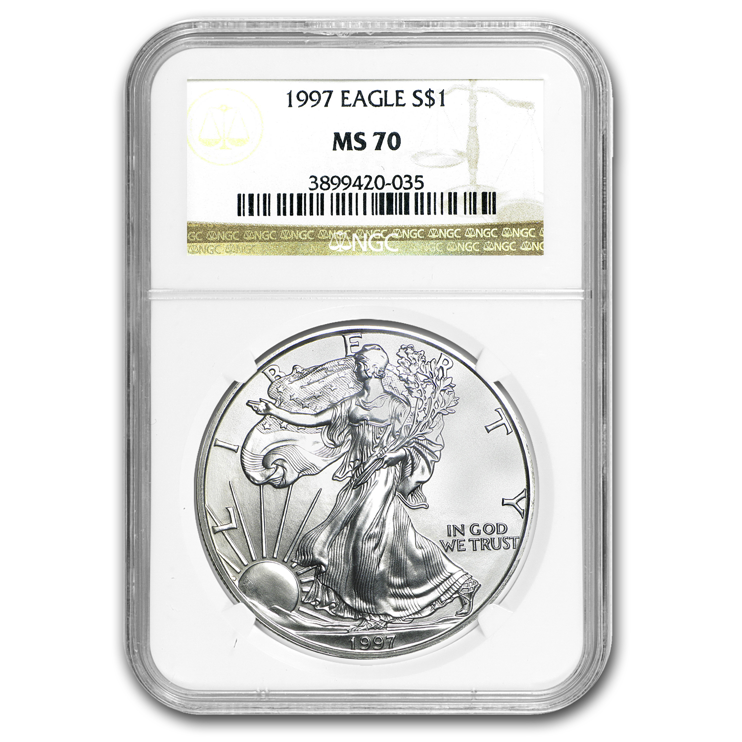 1997 Silver American Eagle MS-70 NGC (Registry Set)