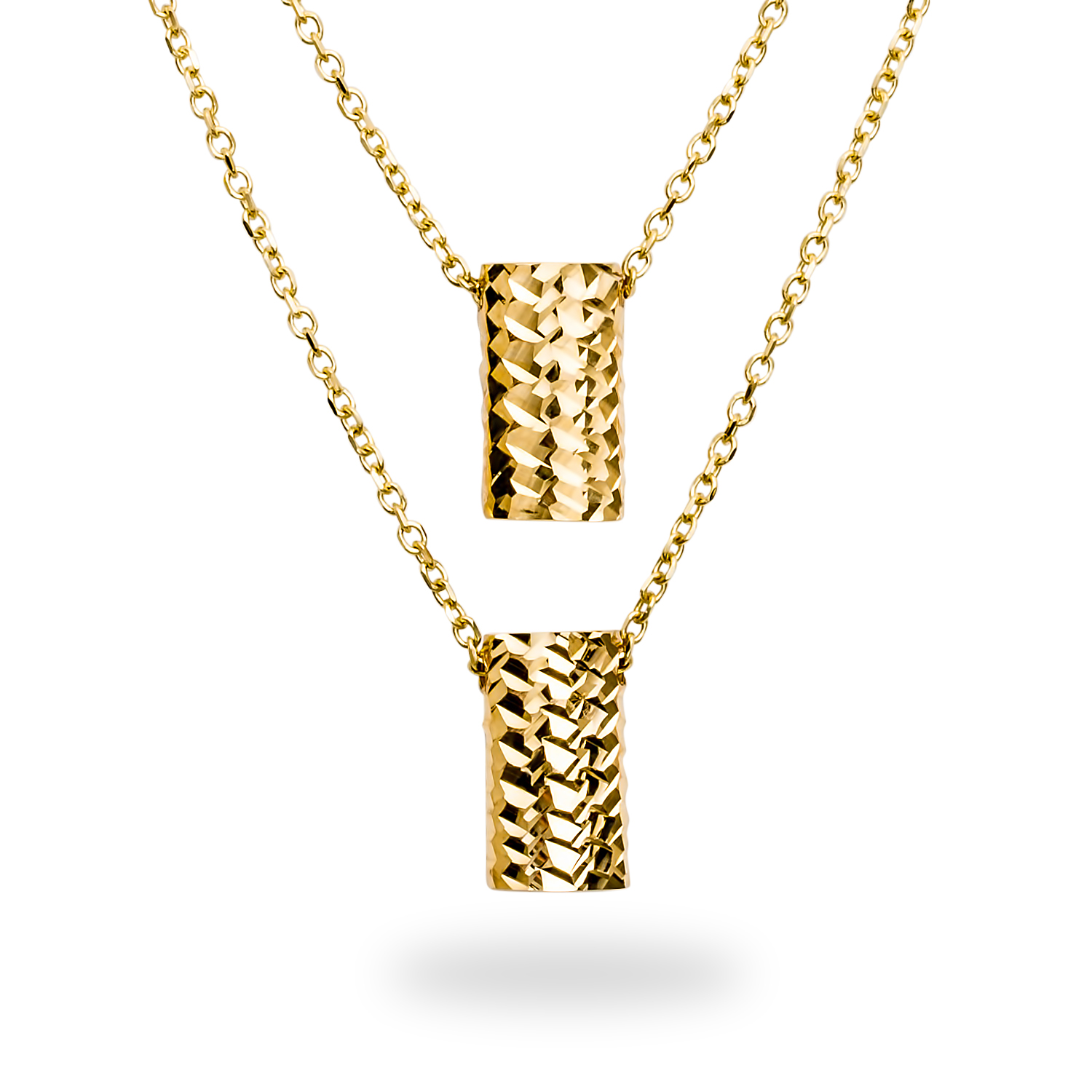 14k Gold Polished Diamond-Cut Rectangle Necklace