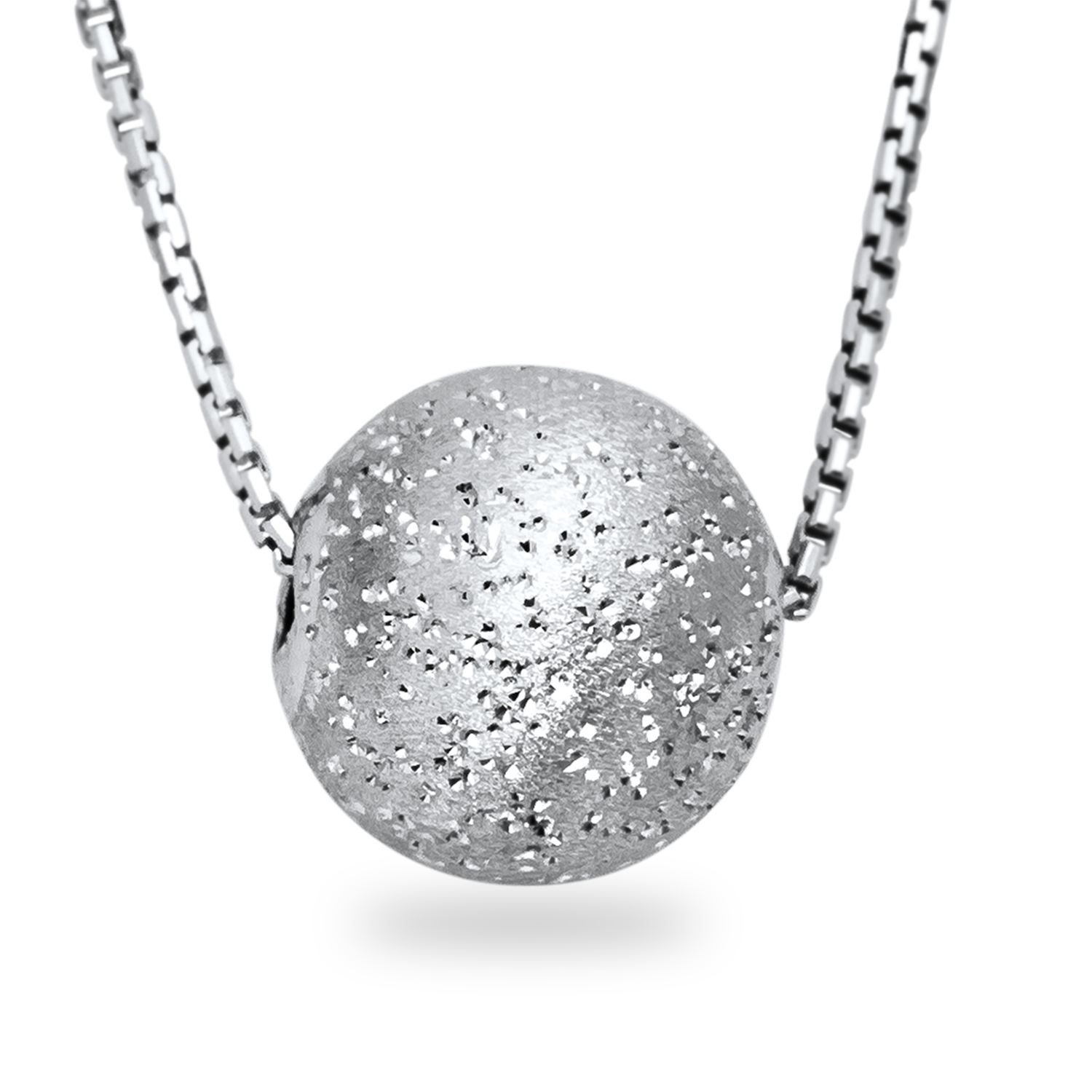 "Rhodium Plated Sterling Silver 18"" Necklace w/Laser-Cut Pendant"