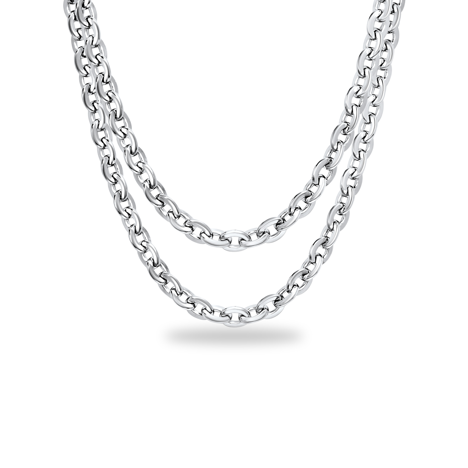 Stainless Steel Polished Multi Circle Necklace
