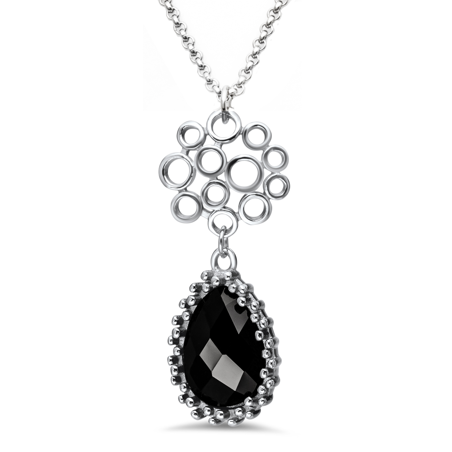 Stainless Steel Polished Circle & Teardrop Onyx Necklace