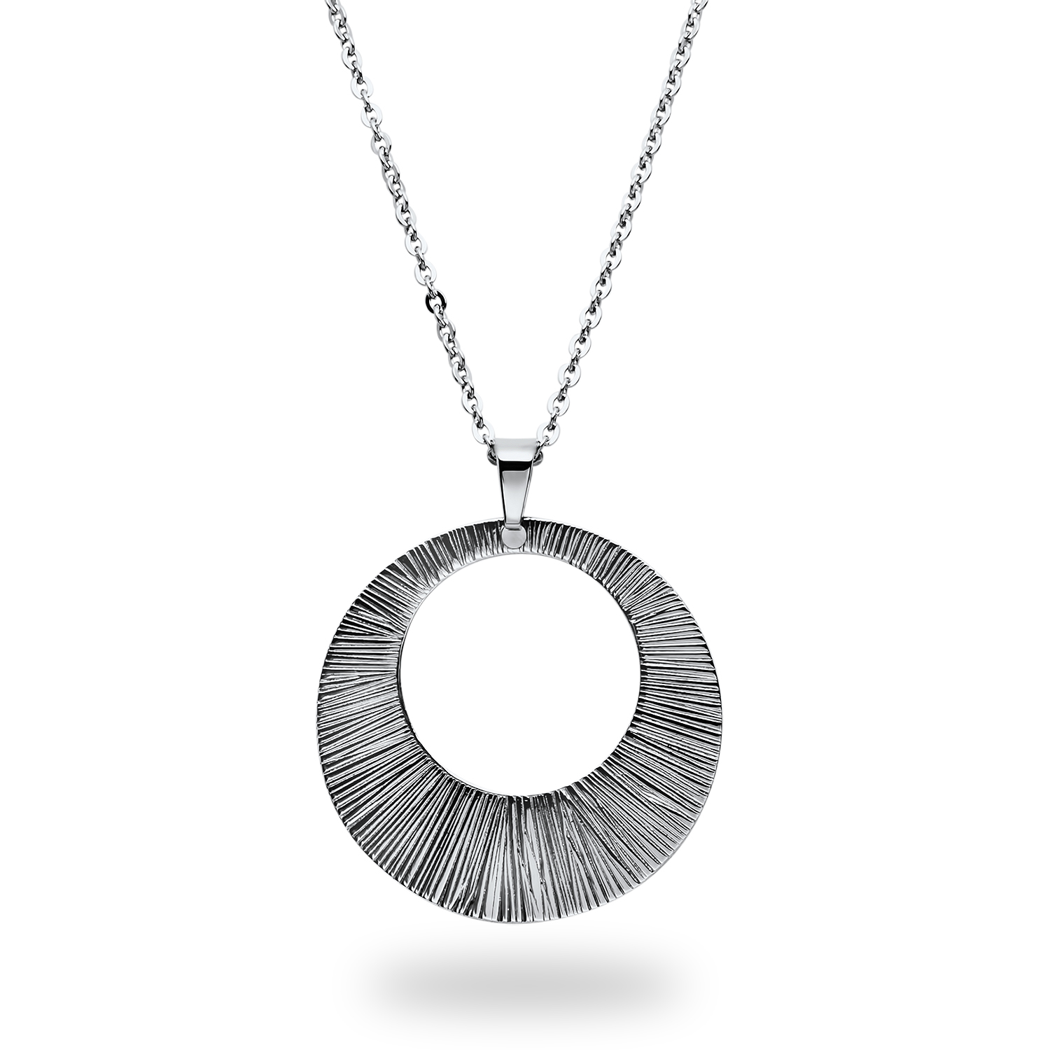 Stainless Steel Textured Pendant Necklace
