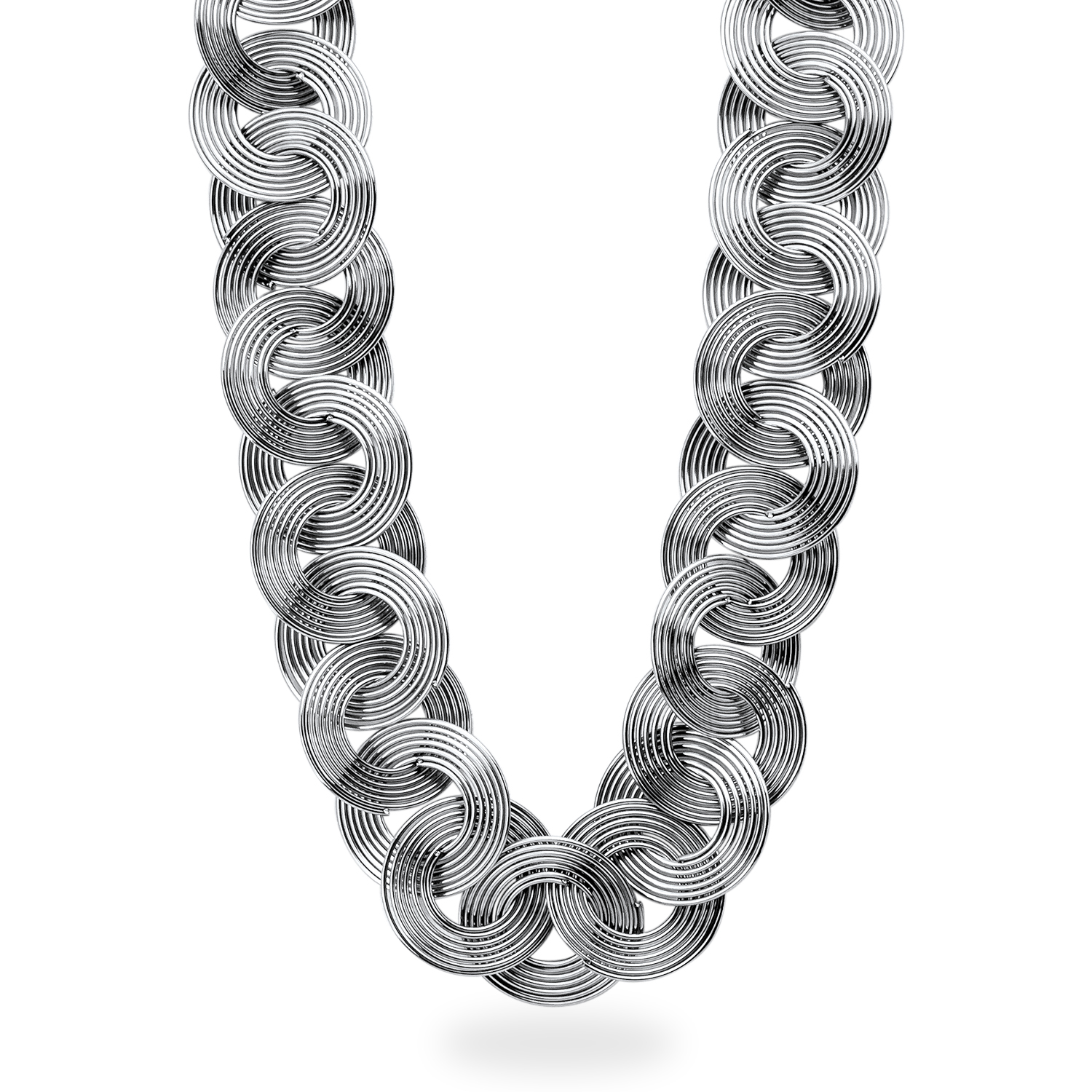 "Stainless Steel Polished Multi Circle 19"" Necklace"