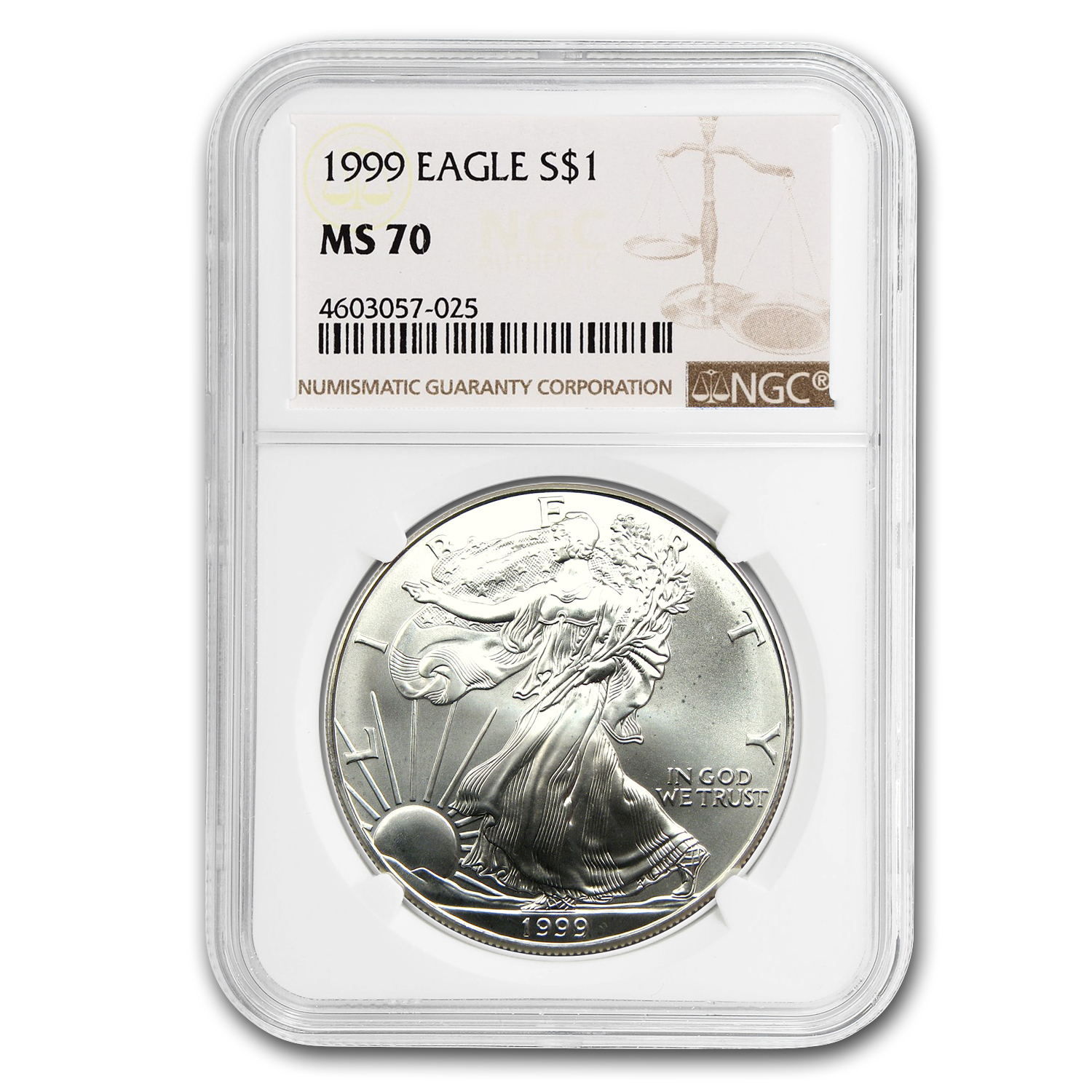 1999 Silver American Eagle MS-70 NGC (Registry Set)