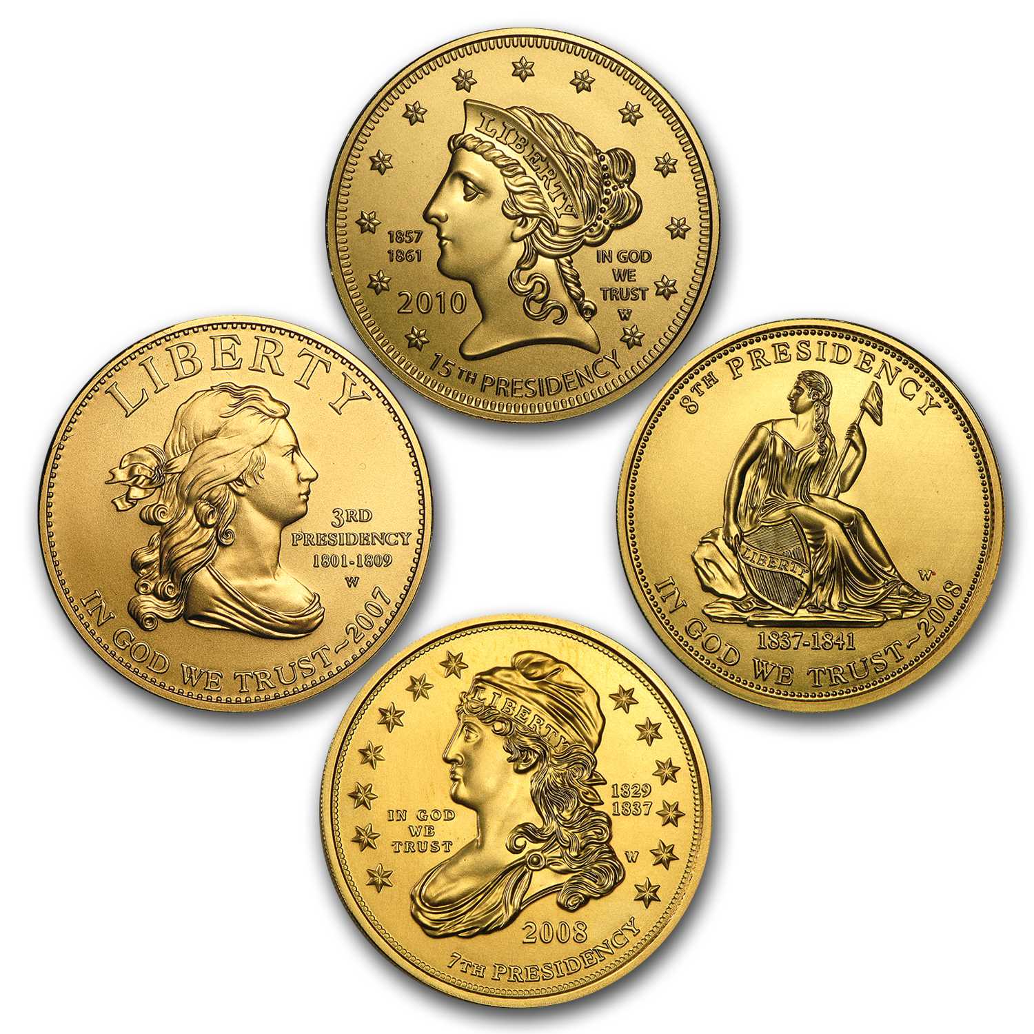 4-Coin Gold First Spouse Liberty BU Set