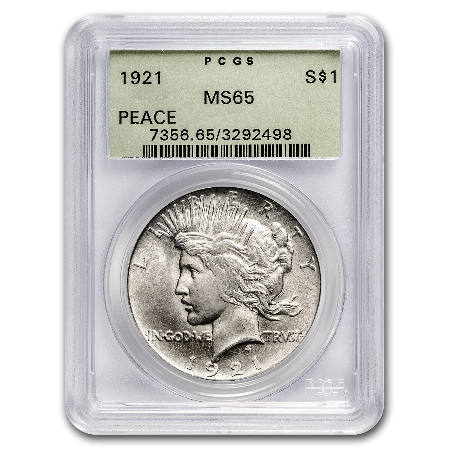 1921 Peace Dollar MS-65 PCGS (Old Green Holder)