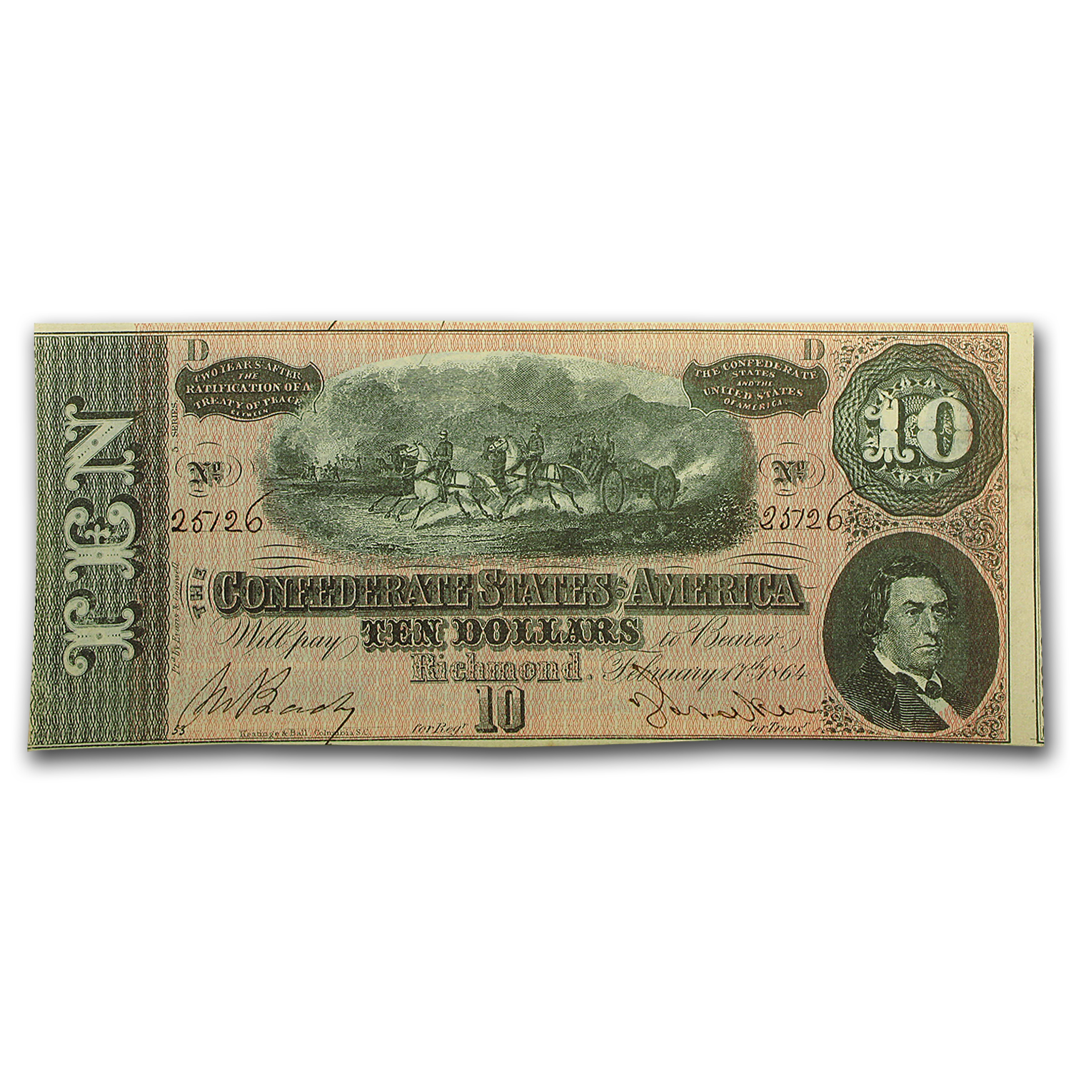 1864 $10 (T-68) Horses Pull Cannon CU (27 Consecutive Notes)