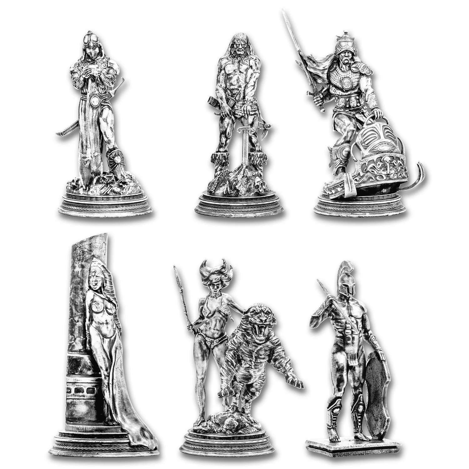 Silver Antique Statue - Frank Frazetta Collection (6-Piece Set)