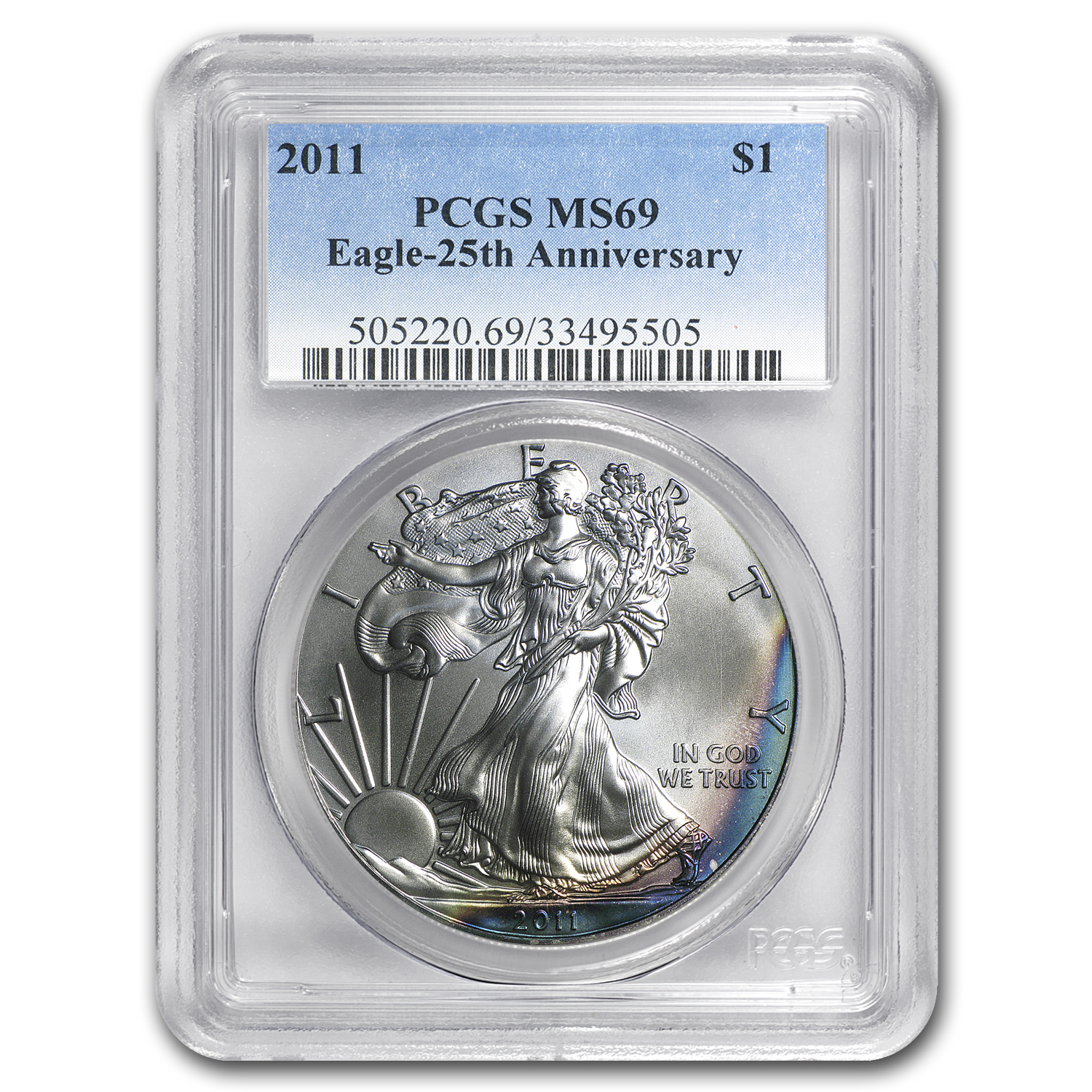 2011 Silver American Eagle MS-69 PCGS (Toning)