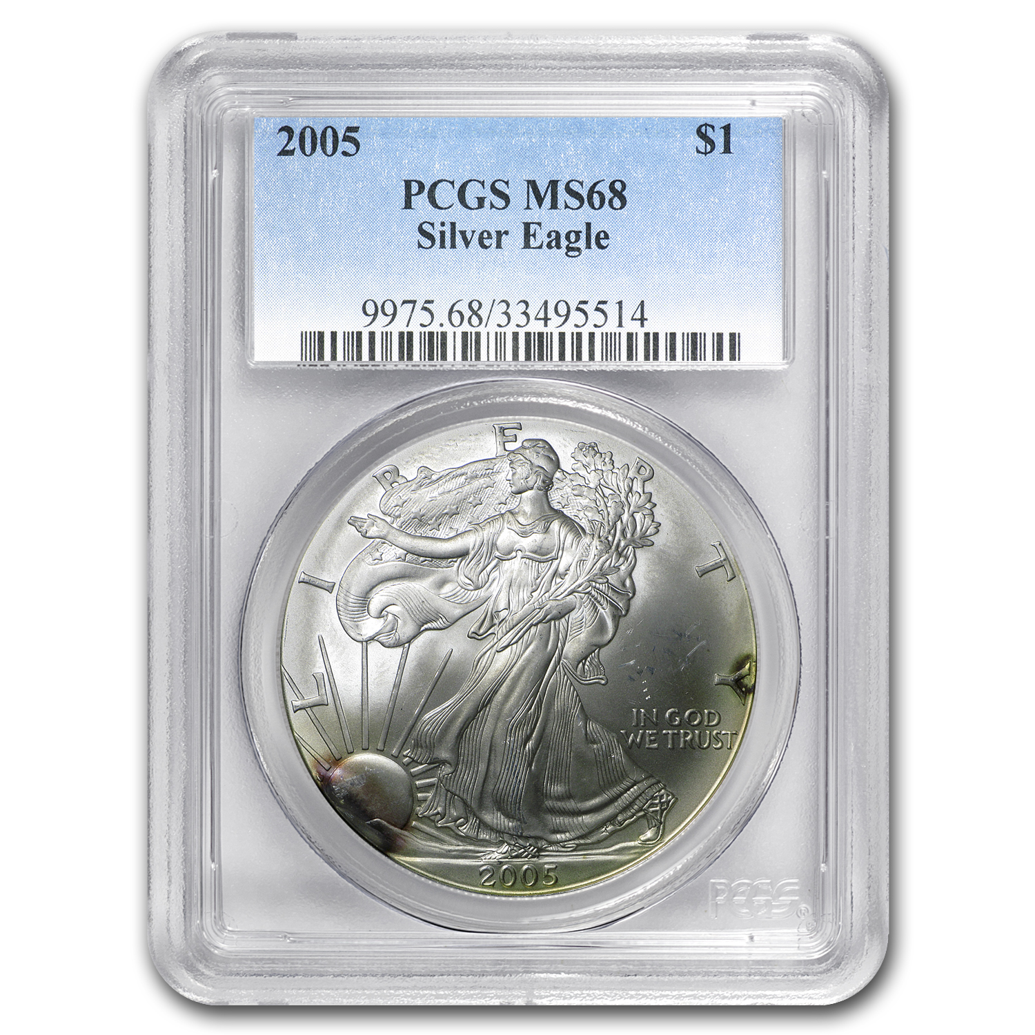 2005 Silver American Eagle MS-68 PCGS (Rainbow Toning)