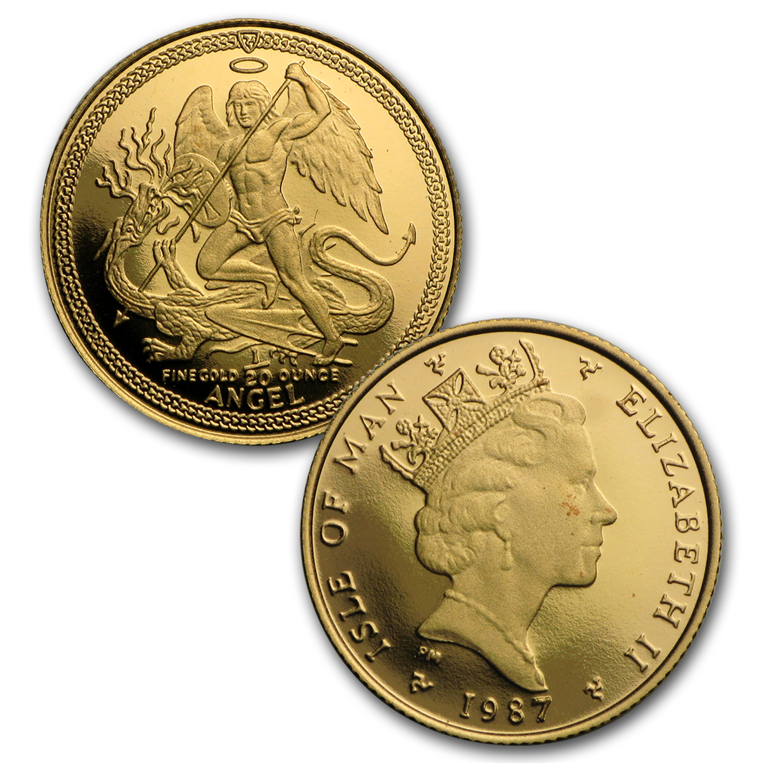 1987 Isle of Man 5-Coin Gold Angel Proof Set (No Box)