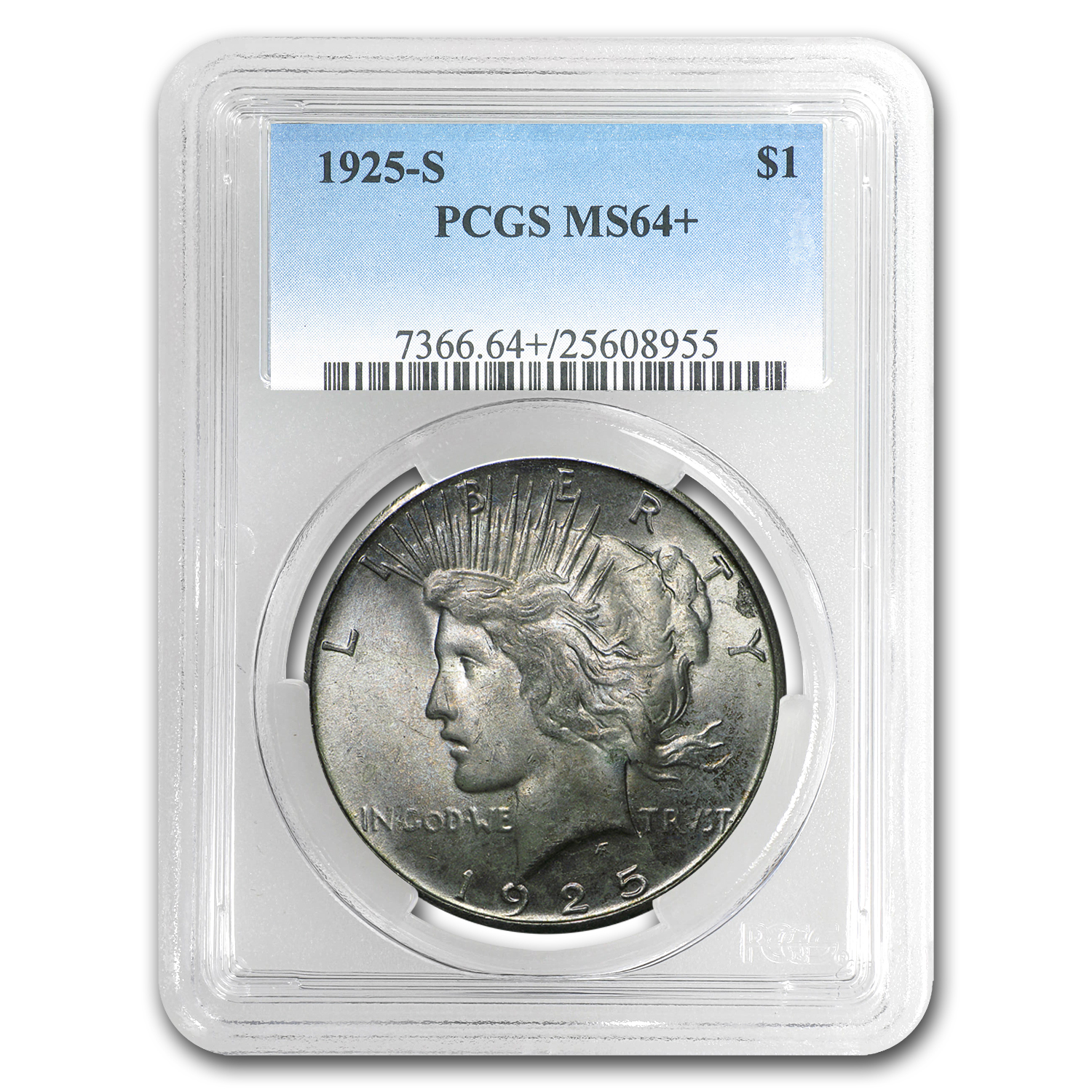 1925-S Peace Dollar MS-64+ PCGS