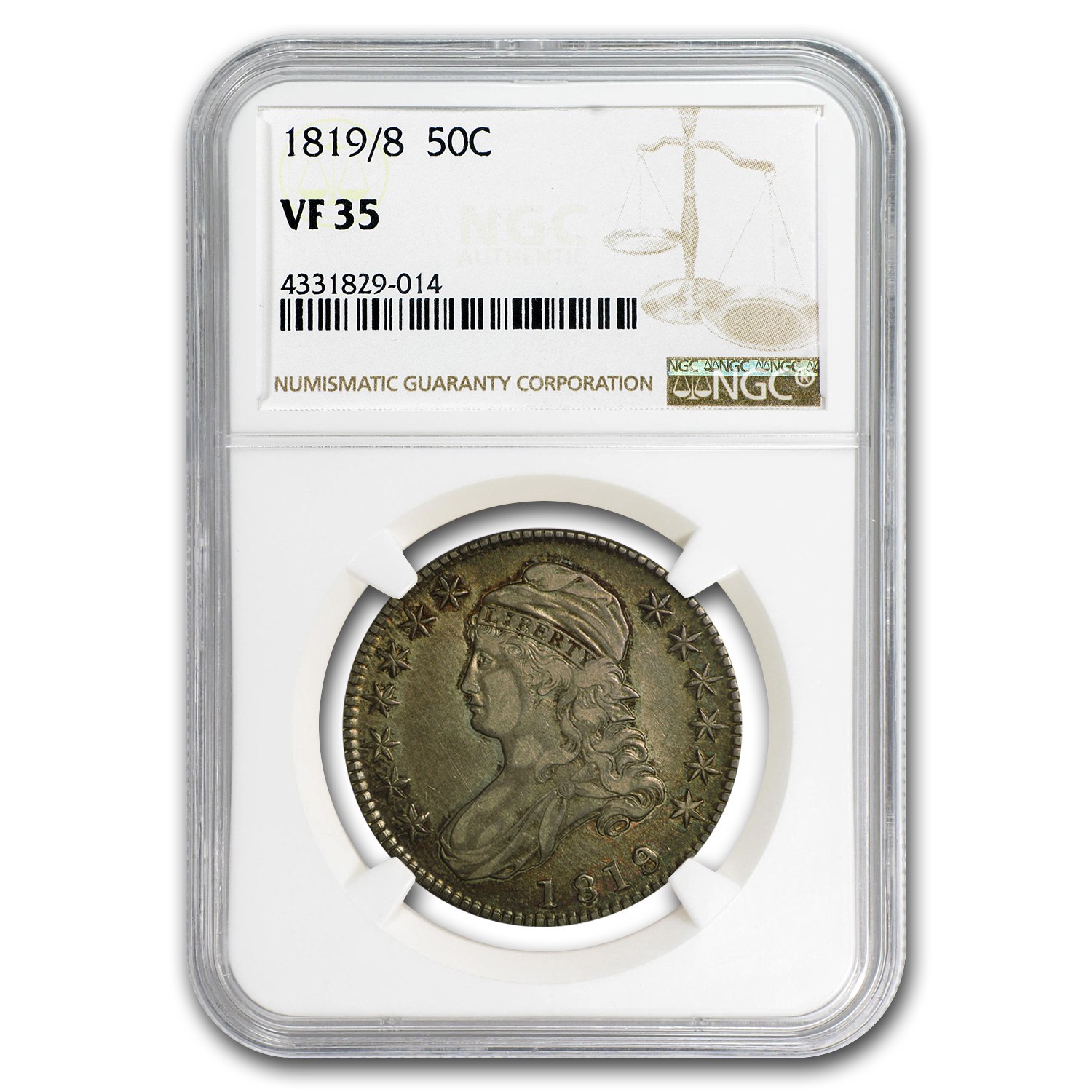 1819/8 Capped Bust Half Dollar VF-35 NGC