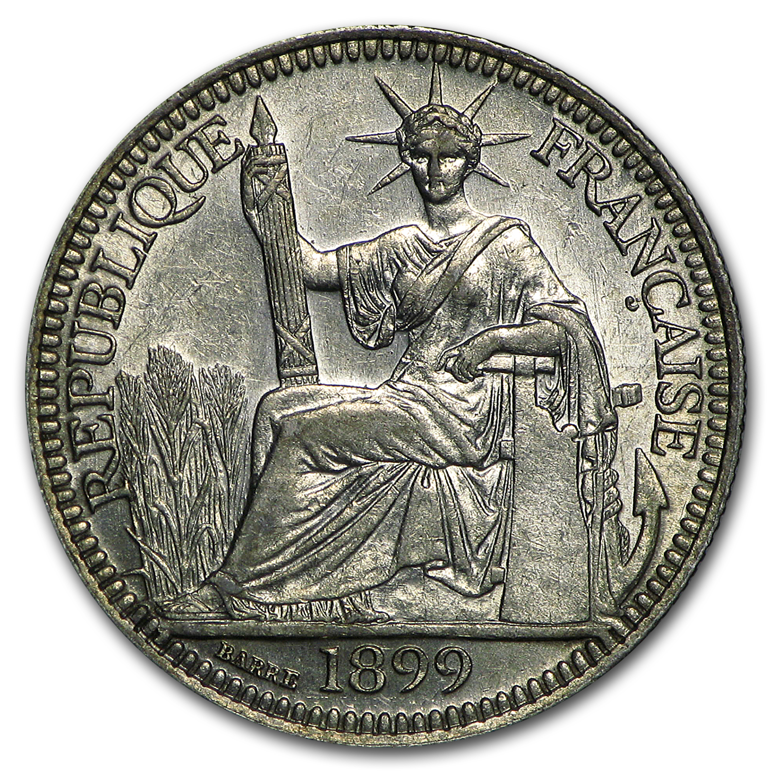 1899 French Indo-China Silver 10 Cent Choice XF
