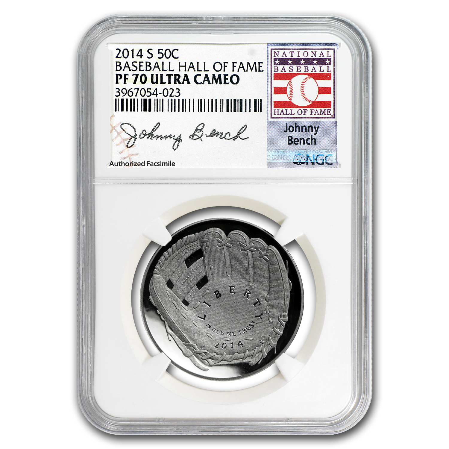 2014-S Baseball HOF 1/2 Dollar Clad Comm PF-70 NGC (Johnny Bench)