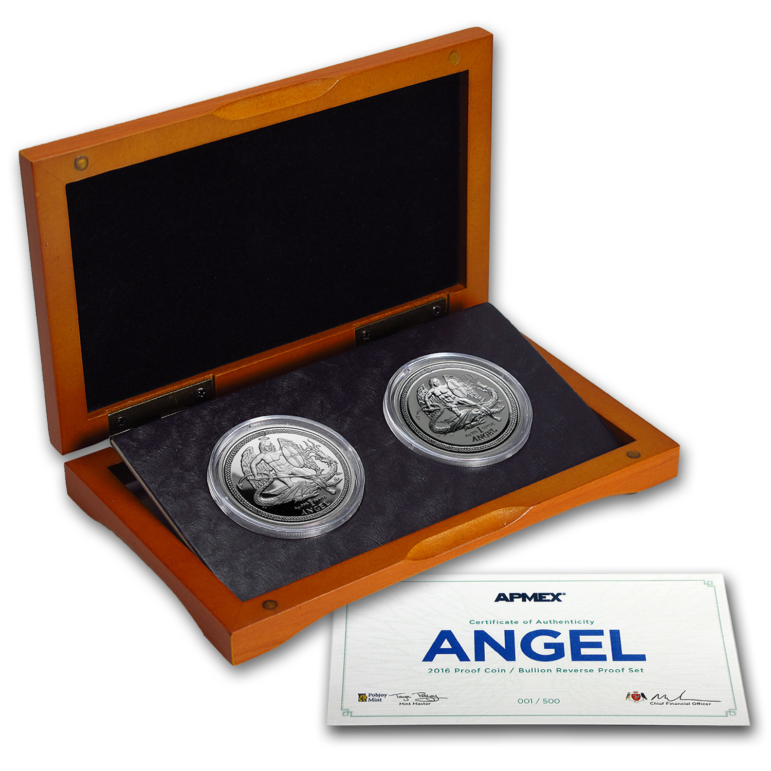 2016 Isle of Man 2-Coin Silver Angel Proof/Reverse Proof Set #1