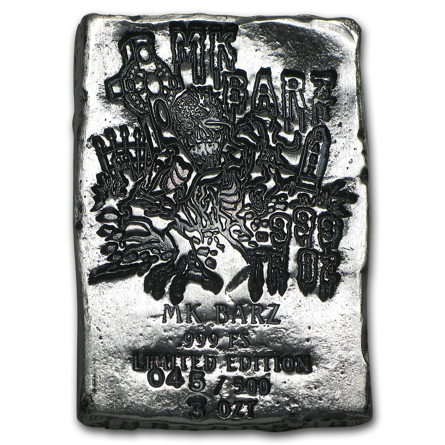 3 oz Silver Bar - Zombie (Limited Edition, Risen From the Grave)