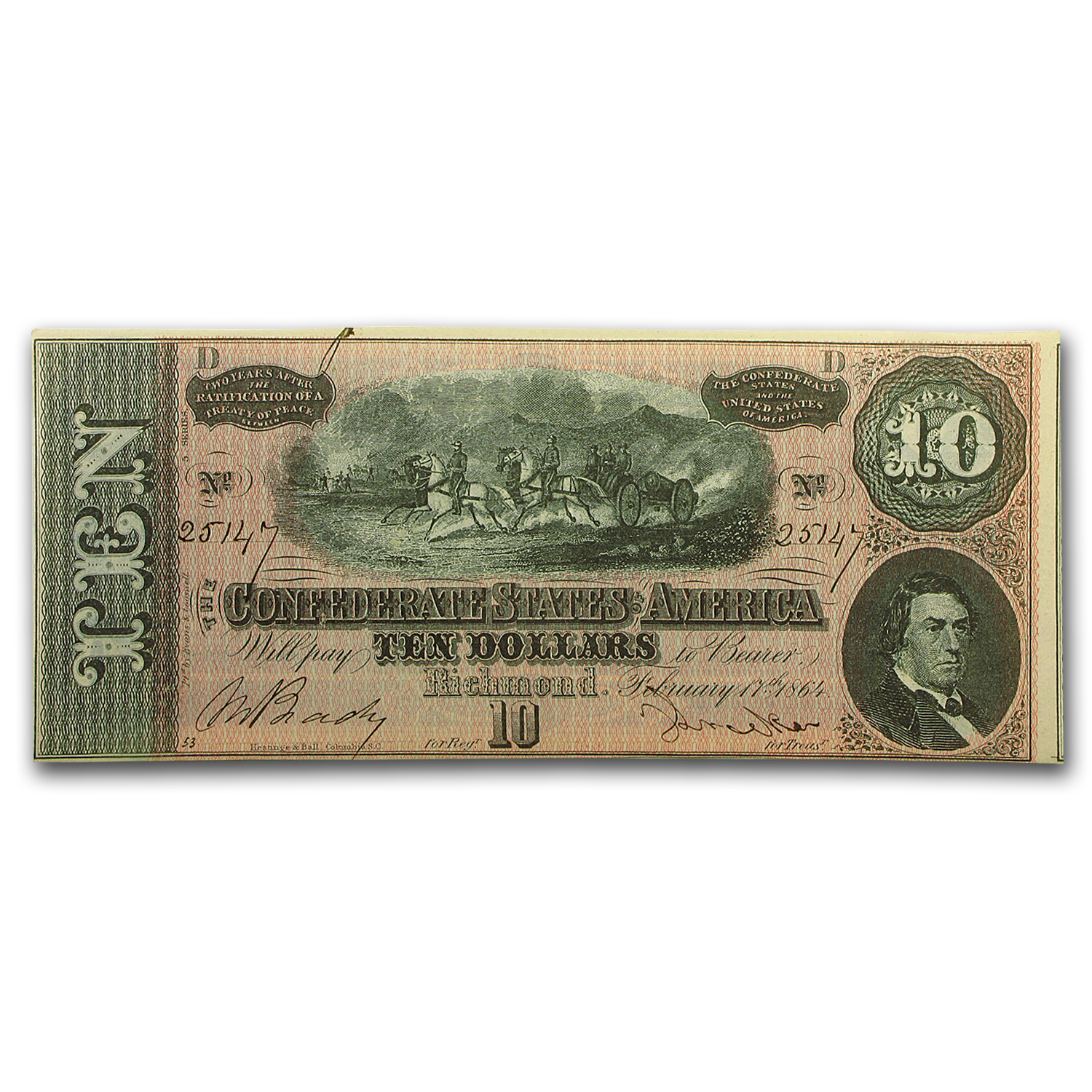 1864 $10 (T-68) Horses Pull Cannon CU (10 Consecutive Notes)