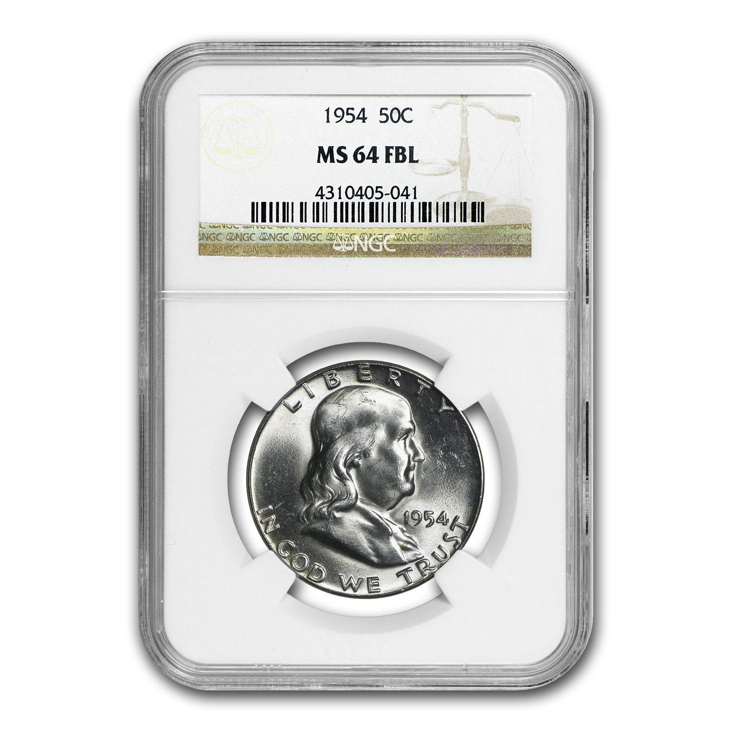 1954 Franklin Half Dollar MS-64 NGC (FBL)