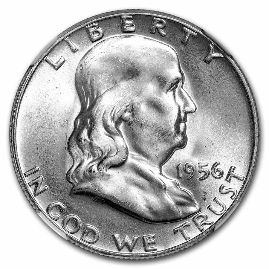 1956 Franklin Half Dollar MS-64 NGC (FBL)