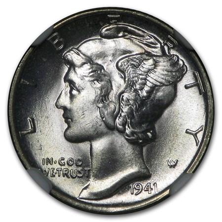 1941 Mercury Dime Ms 66 Ngc Fsb Mercury Dimes 1916