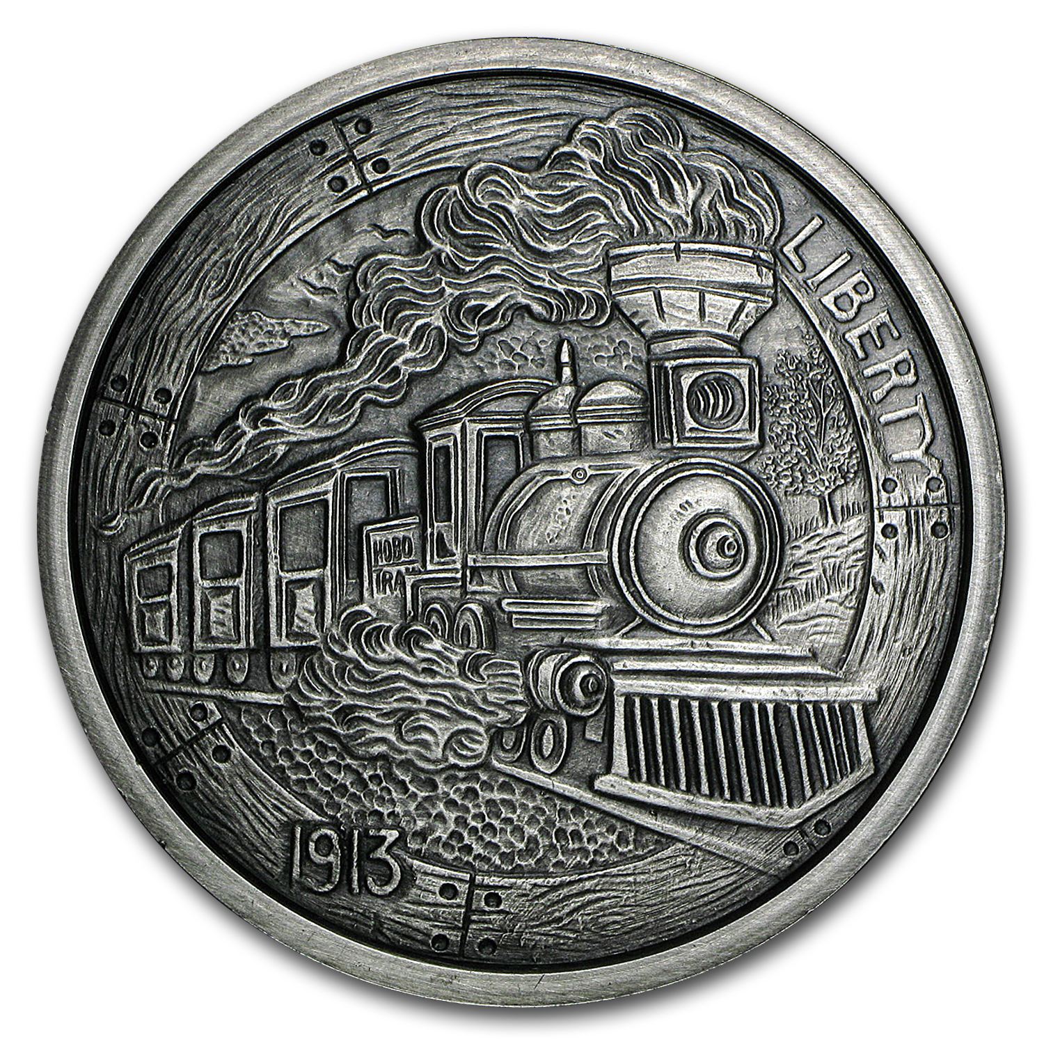 5 oz Silver Antique Round - Hobo Nickel Replica (The Train)