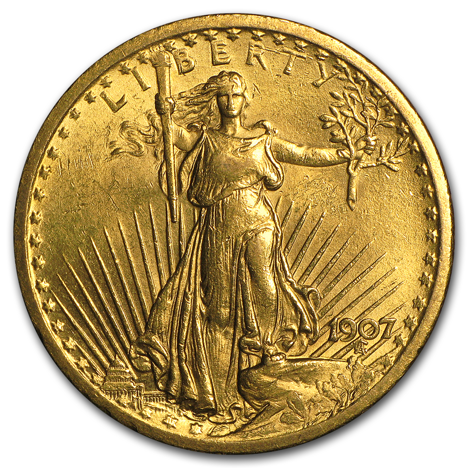 1907 $20 St. Gaudens Gold Double Eagle BU