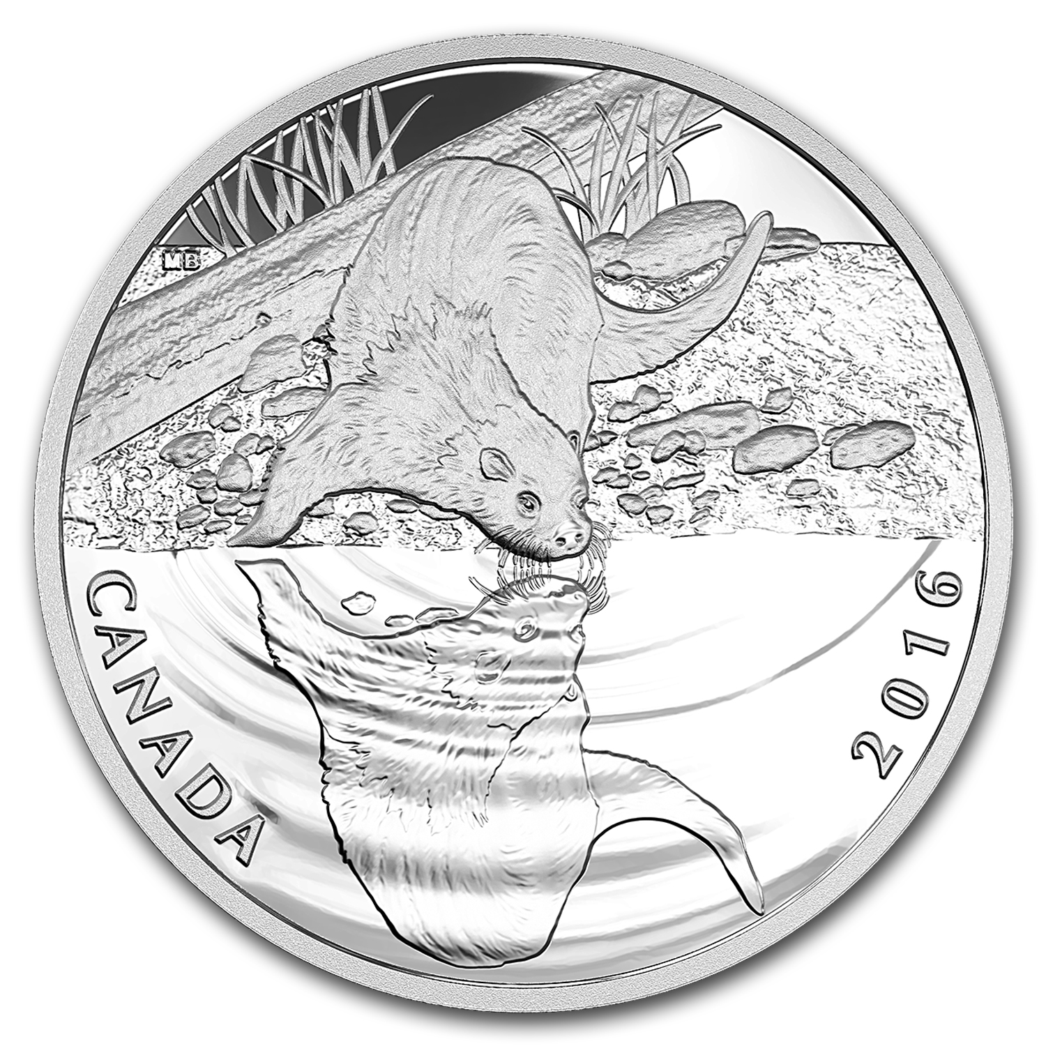 2016 Canada 1/2 oz Proof Silver $10 Reflections Otter