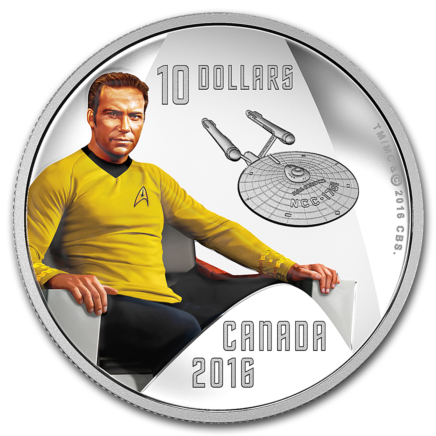 2016 Canada 1/2 oz Silver Proof $10 Star Trek Captain Kirk