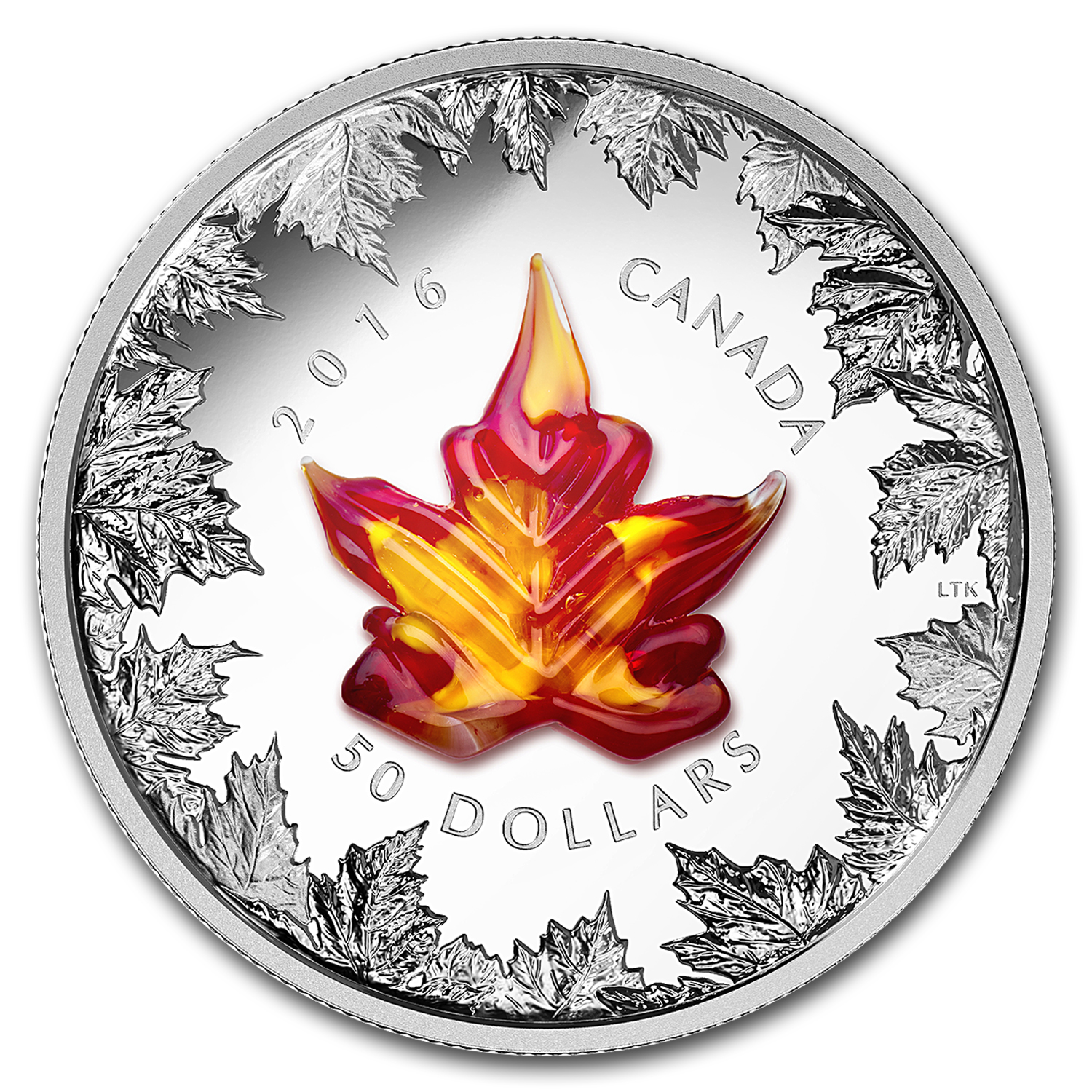 2016 Canada 5 Oz Silver 50 Murano Maple Leaf Autumn
