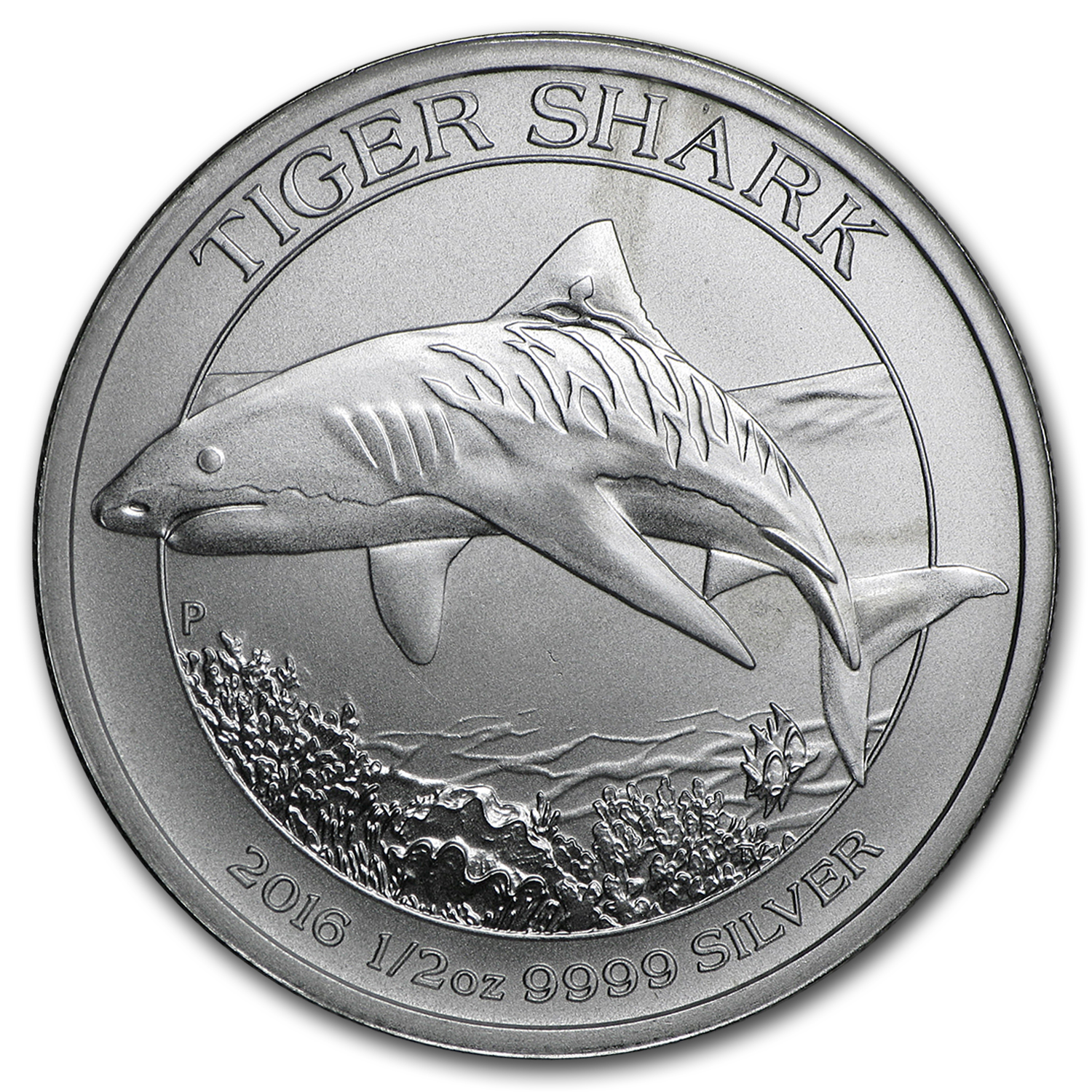 2016 Australia 1/2 oz Silver Tiger Shark (Abrasions/Damaged)