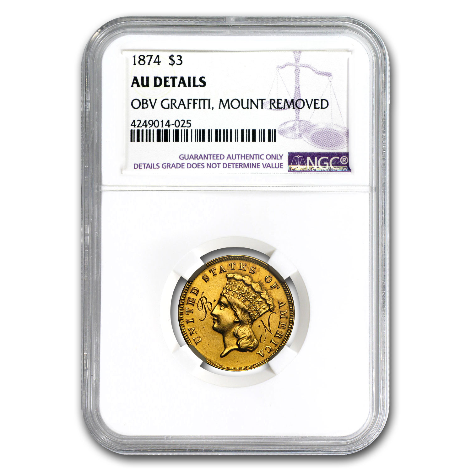 1874 $3 Gold Princess AU Details NGC (Mount Removed)