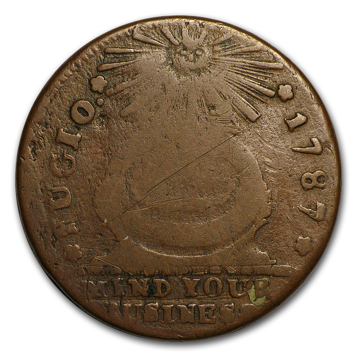 1787 Fugio Cent 1st Coin Issued By The U S Fine Details