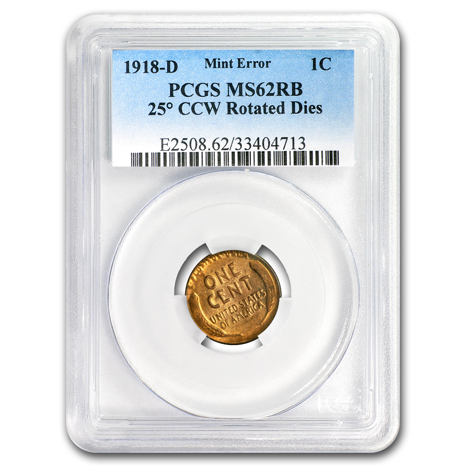 1918-D Lincoln Cent MS-62 RB PCGS (Rotated Dies)