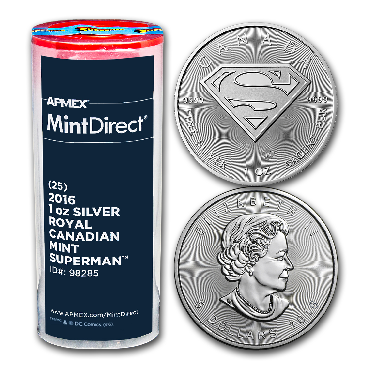 2016 Canada 1 oz Silver SUPERMAN™ (25-Coin MintDirect® Tube)