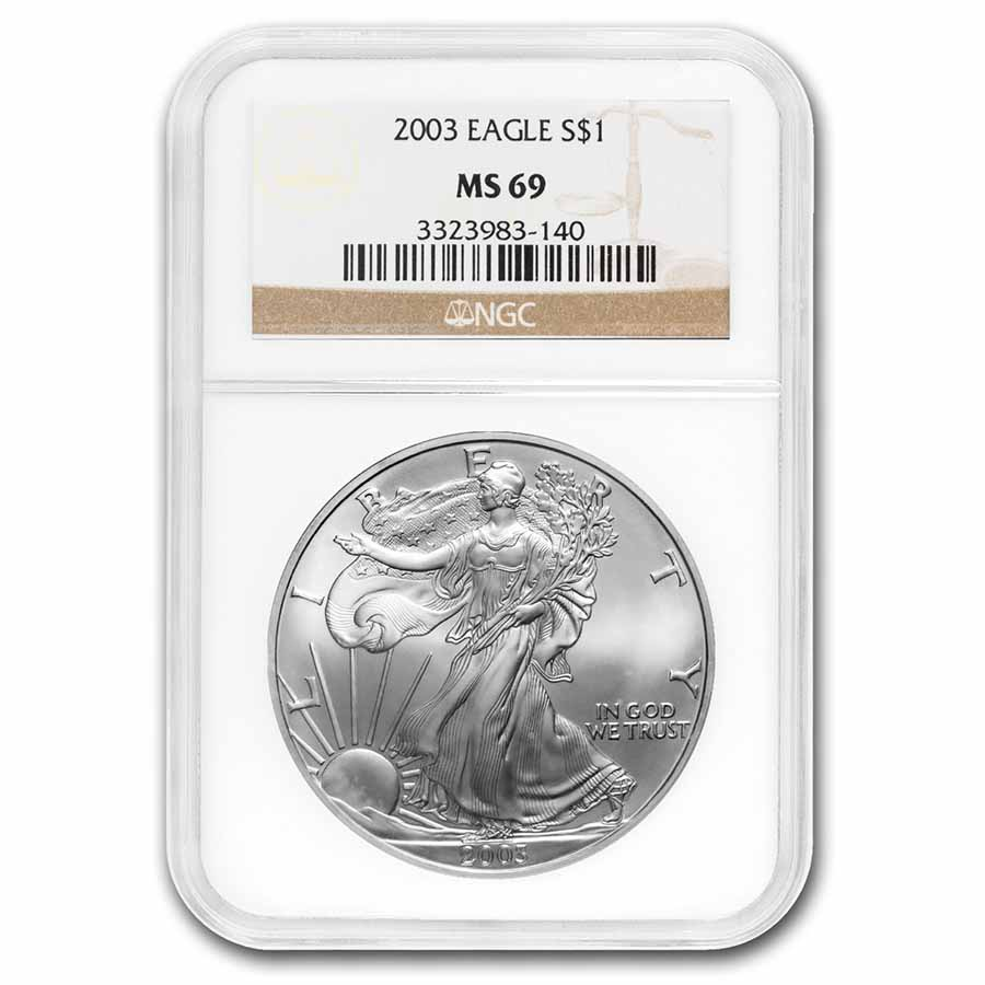 1986-2016 Silver Eagle MS-69 NGC/PCGS (Random Year, Spotted)