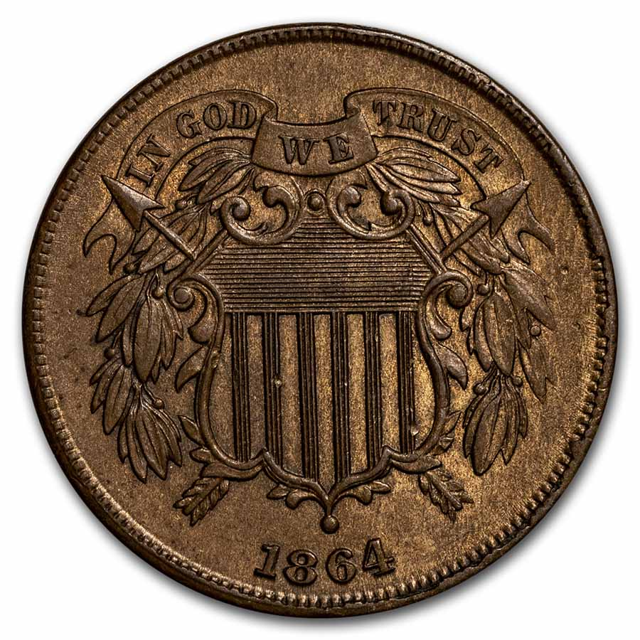 1864 Two Cent Piece Large Motto Choice BU (Brown)