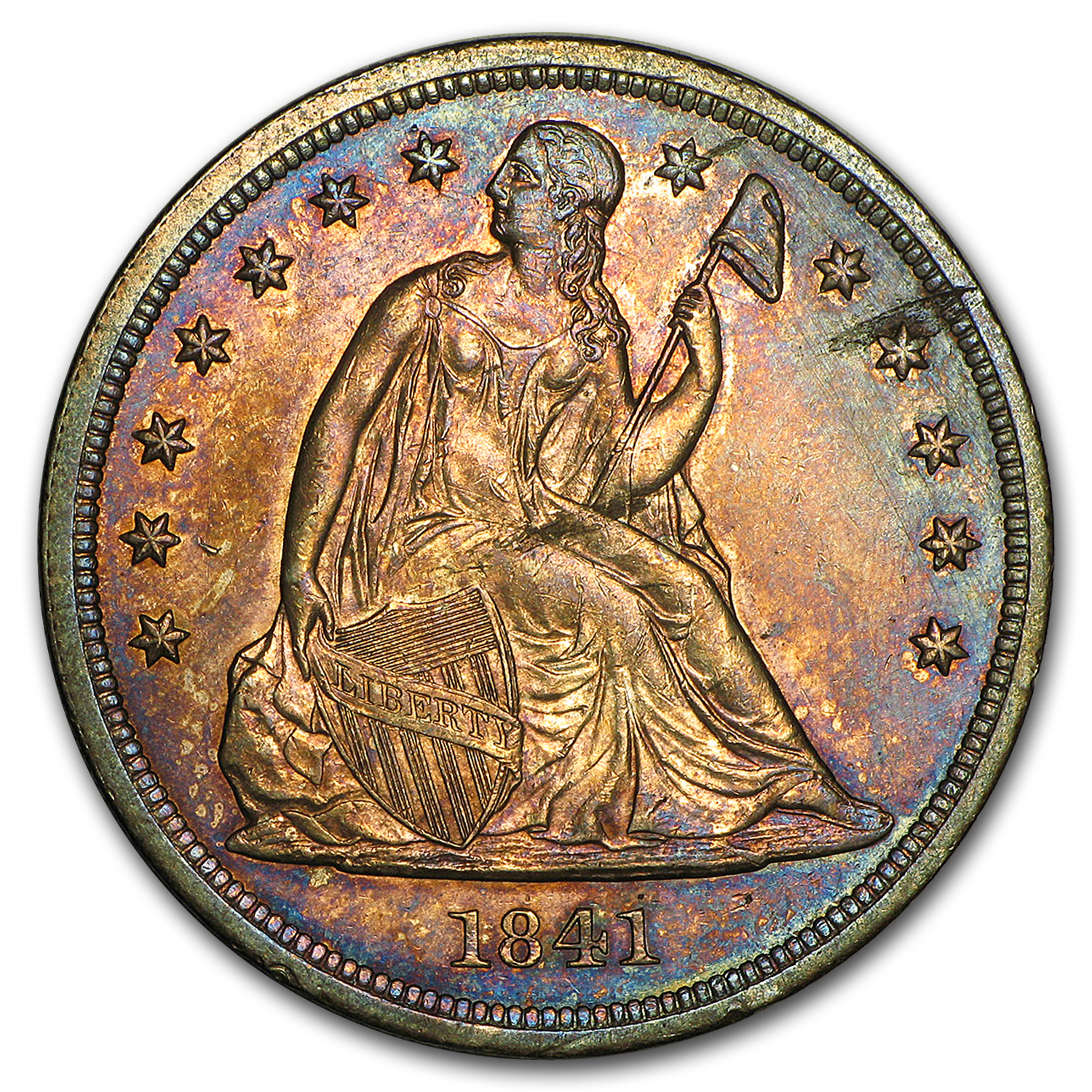 1841 Liberty Seated Dollar AU Details