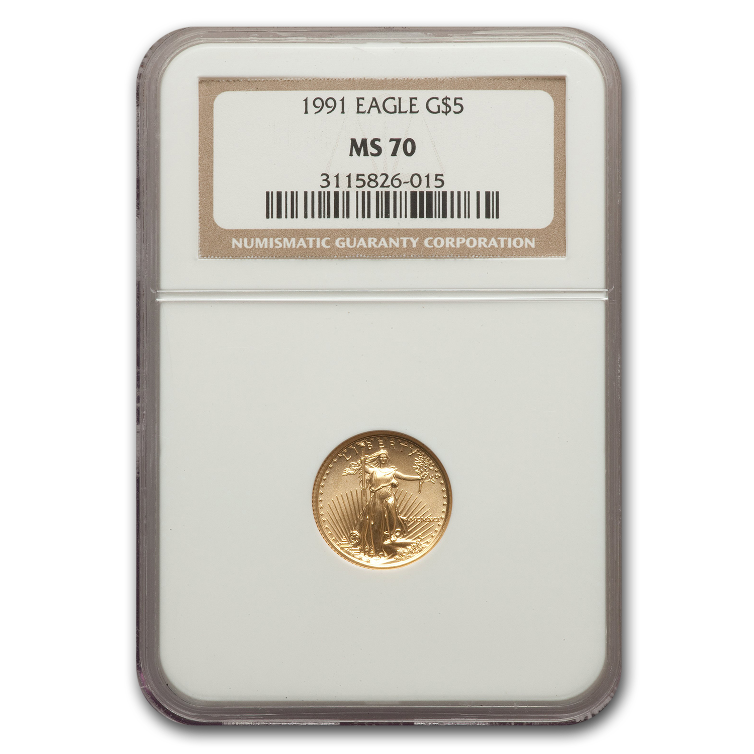 1991 1/10 oz Gold American Eagle MS-70 NGC (Registry Set)