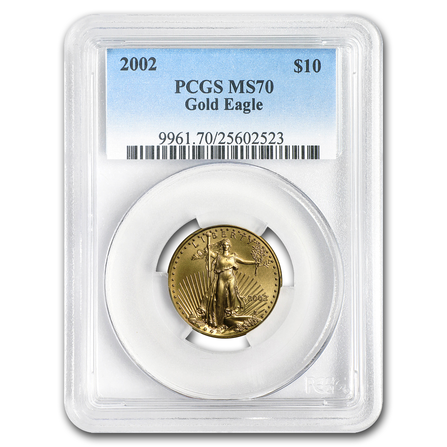2002 1/4 oz Gold American Eagle MS-70 PCGS (Registry Set)