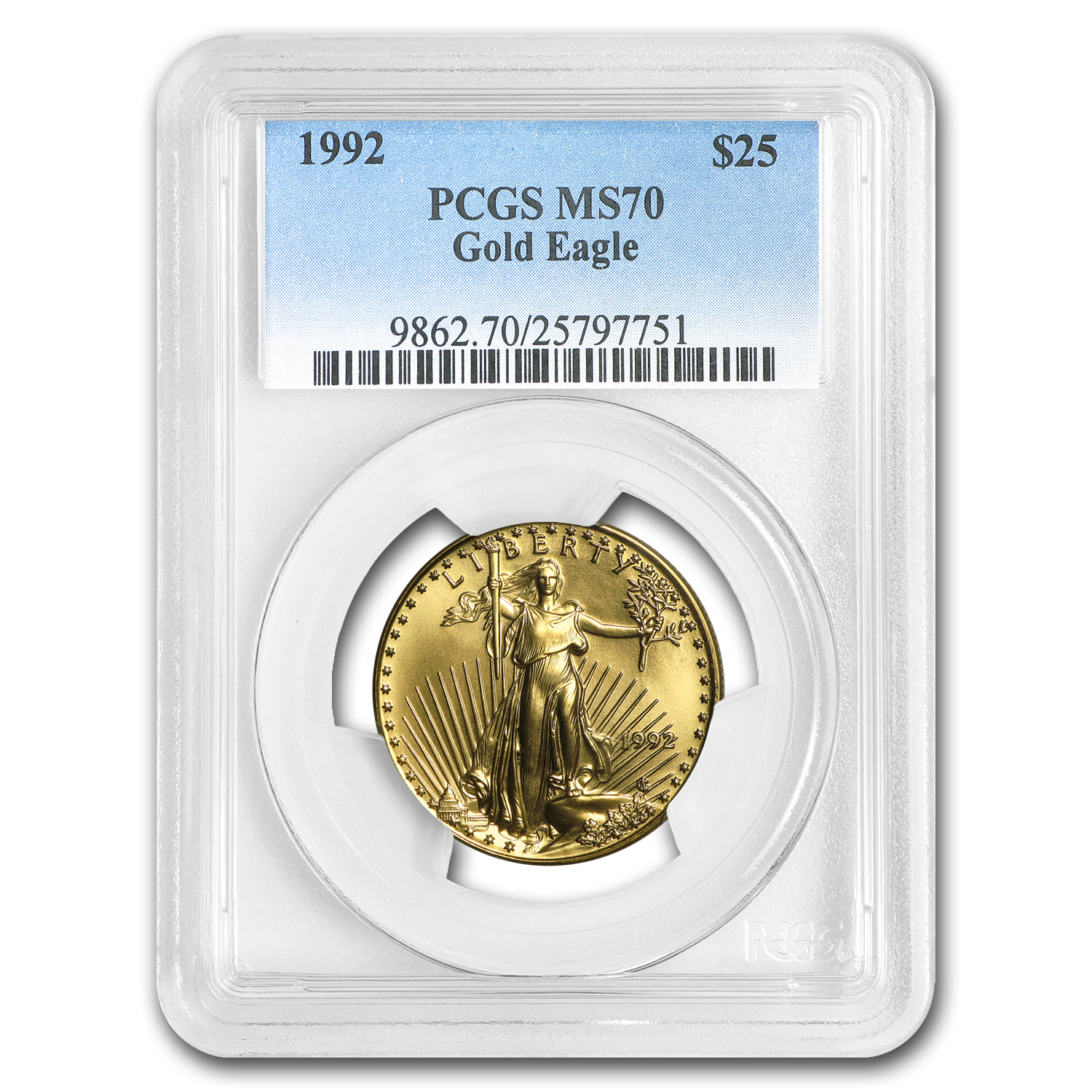 1992 1/2 oz Gold American Eagle MS-70 PCGS (Registry Set)