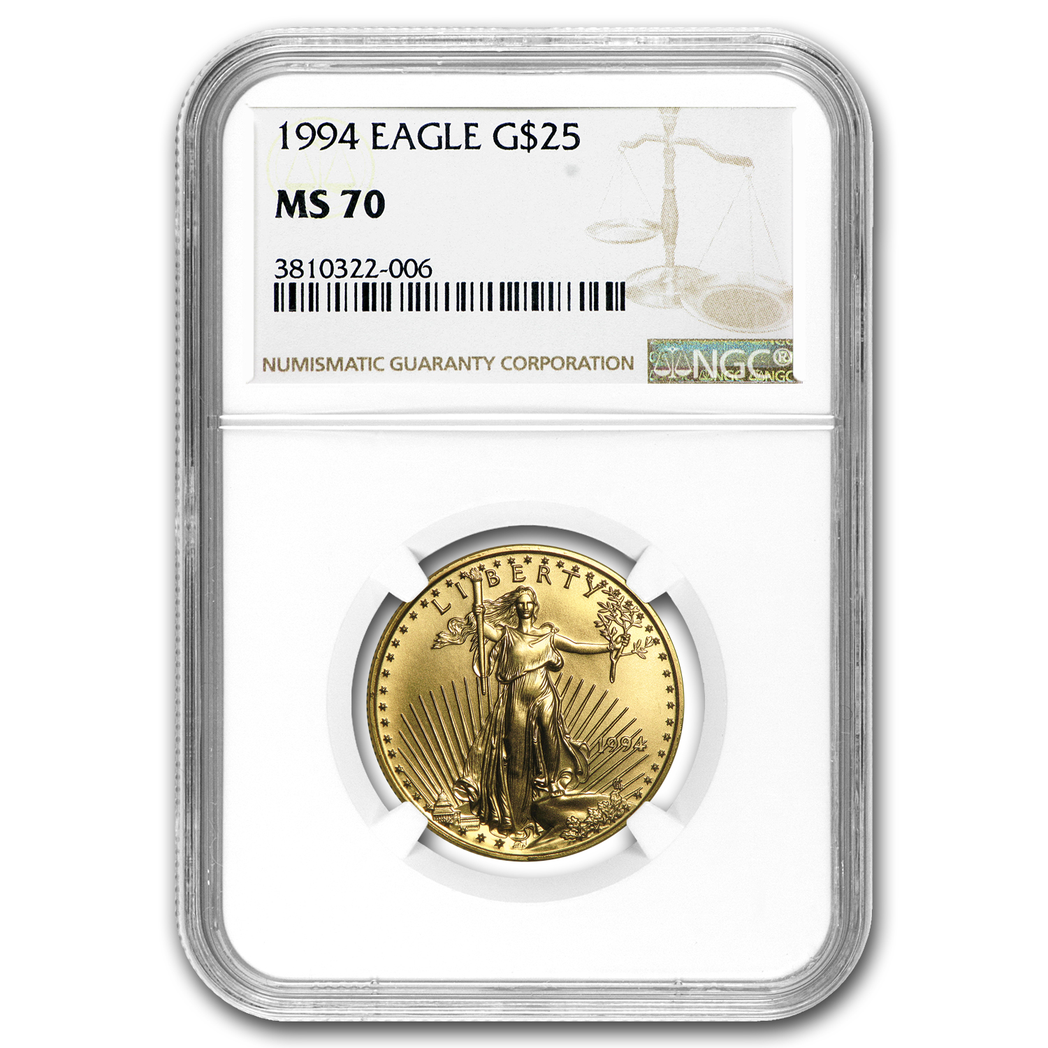 1994 1/2 oz Gold American Eagle MS-70 NGC (Registry Set)
