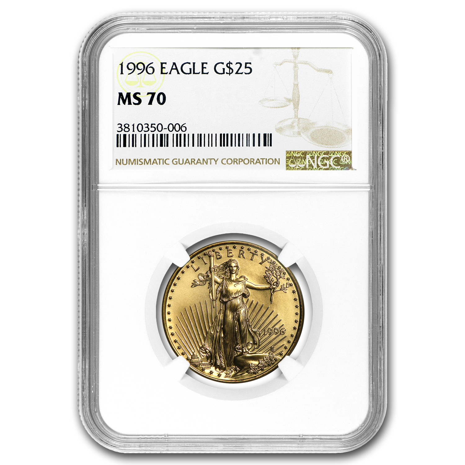 1996 1/2 oz Gold American Eagle MS-70 NGC (Registry Set)
