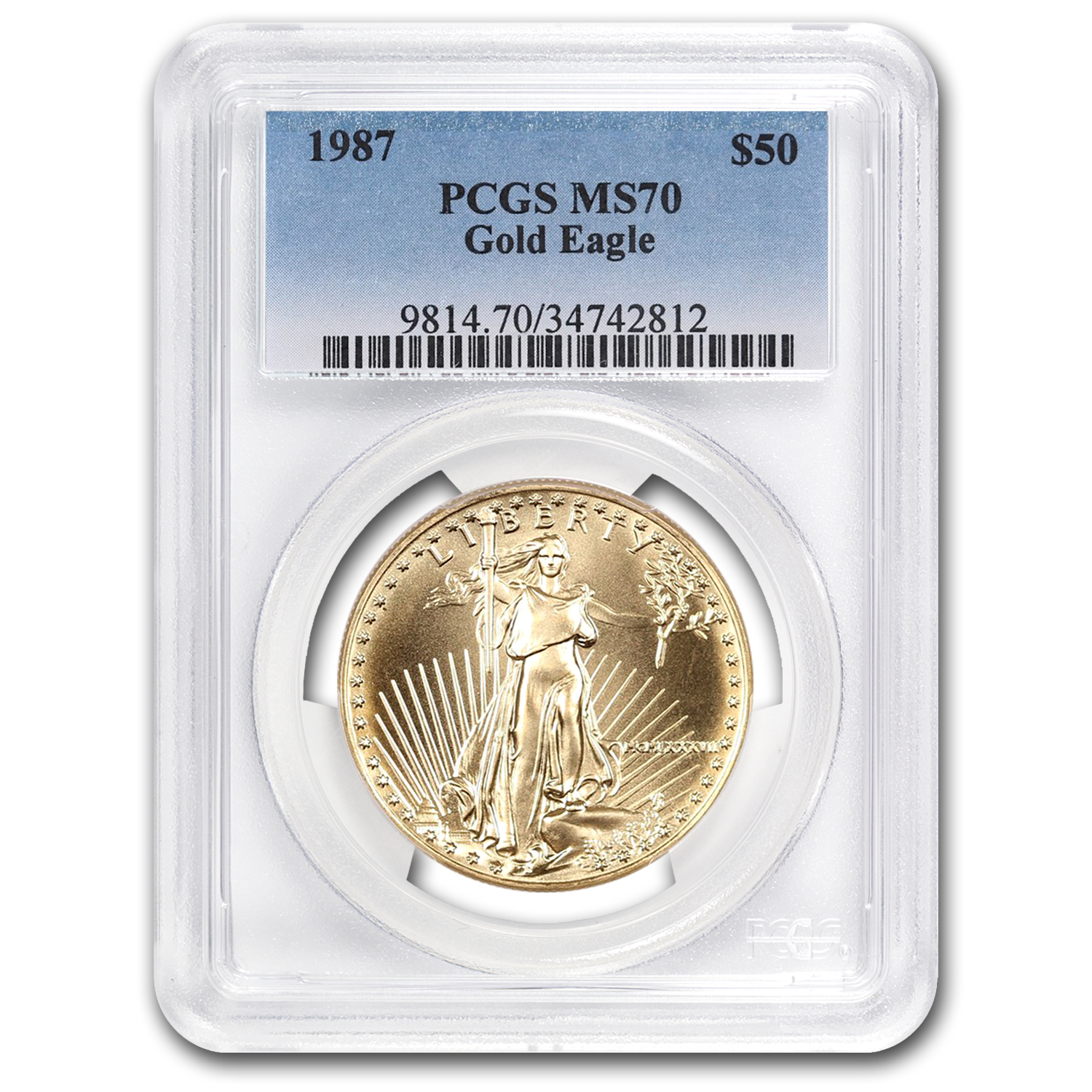 1987 1 oz Gold American Eagle MS-70 PCGS (Registry Set)
