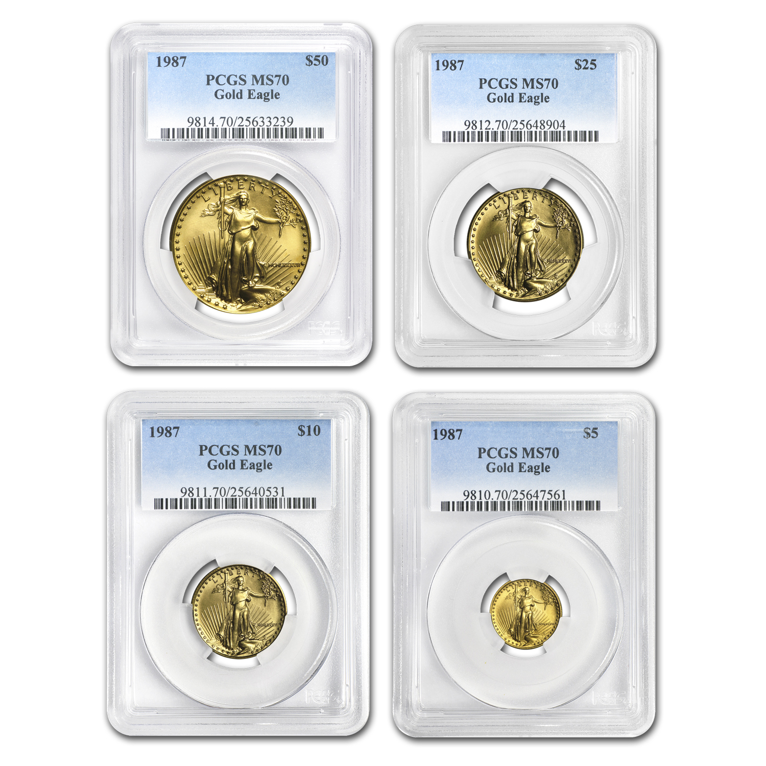 1987 4-Coin Gold American Eagle Set MS-70 PCGS (Registry Set)