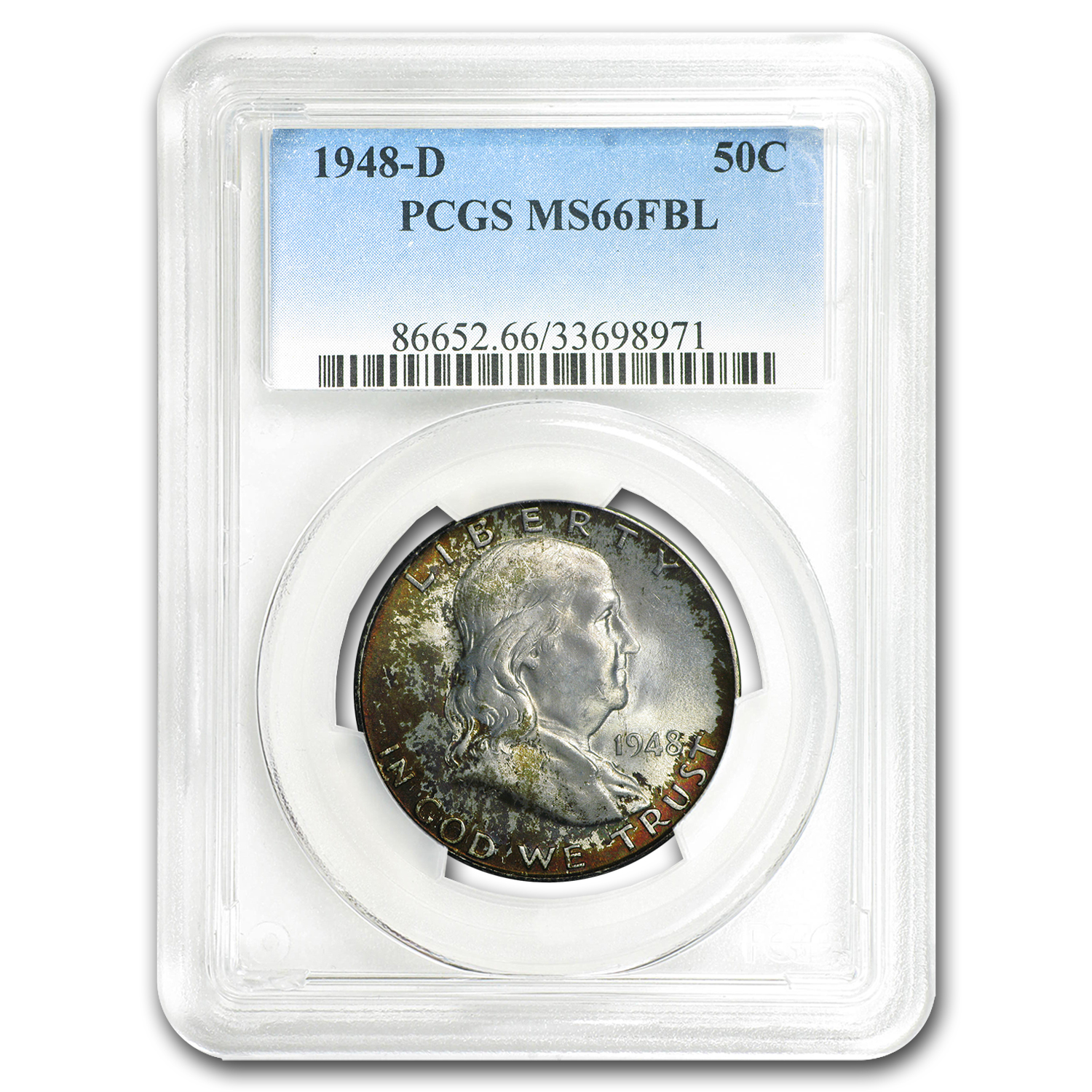 1948-D Franklin Half Dollar MS-66 PCGS (FBL, Mint Set Toning)