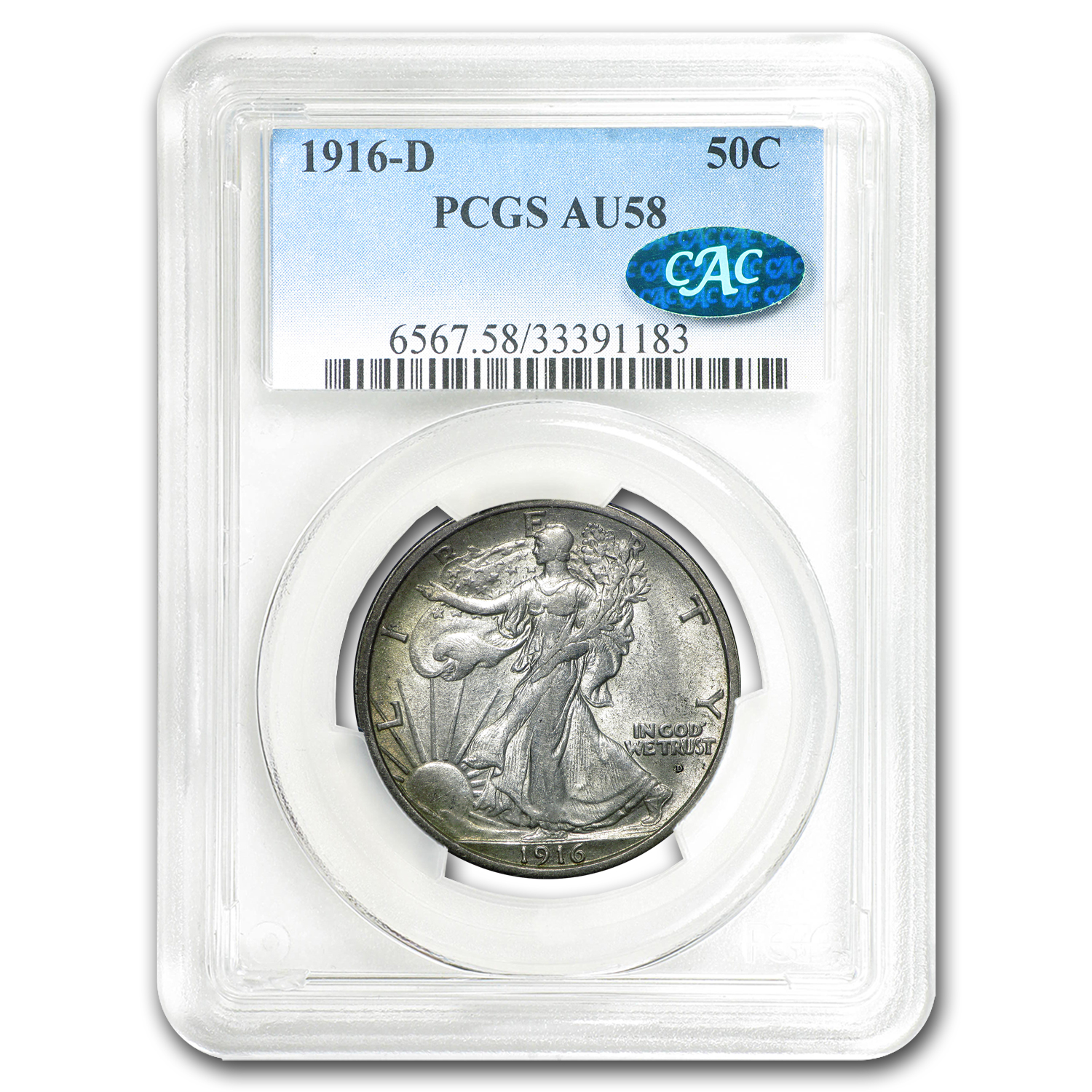 1916-D Walking Liberty Half Dollar AU-58 PCGS CAC